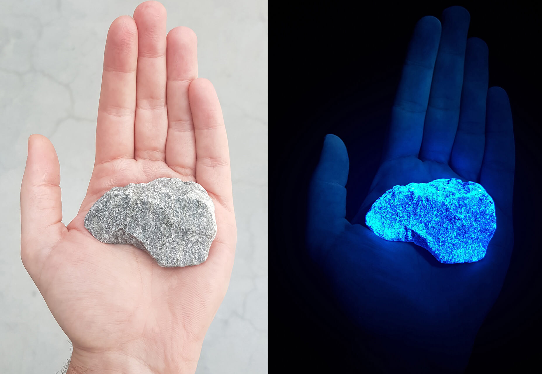 The stones are specially developed by employing invisible ultraviolet light, with fluorescent pigments | Levenslicht | Daan Roosegaarde | Studio Roosegaarde| STIRworld