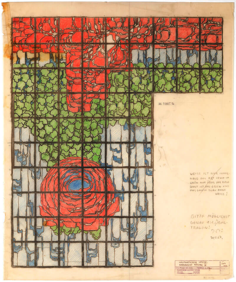 A drawing of the rose motif that adorn the stained glass windows of the church | BÖHM100: The Concrete Cathedral of Neviges | Deutsches Architekturmuseum (DAM) | STIRworld