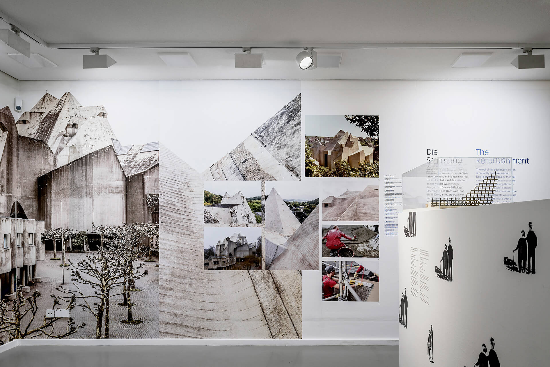 Various photographs of Mariendom are combined into a collage by graphic artists Rahlwes.Pietz within the exhibition | BÖHM100: The Concrete Cathedral of Neviges | Deutsches Architekturmuseum (DAM) | STIRworld