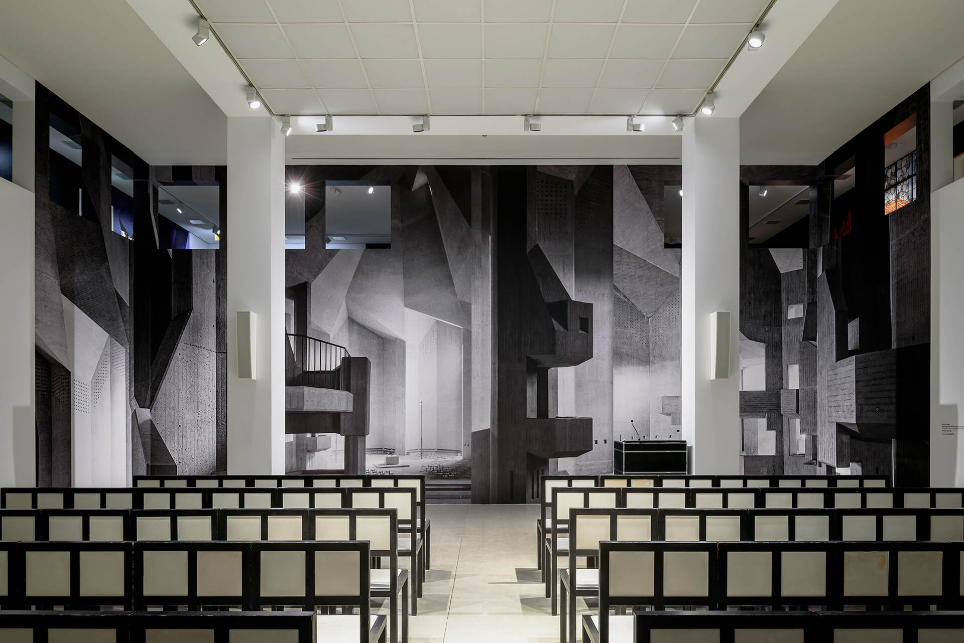 The wall installation creates an impression of the interiors of the church | BÖHM100: The Concrete Cathedral of Neviges | Deutsches Architekturmuseum (DAM) | STIRworld