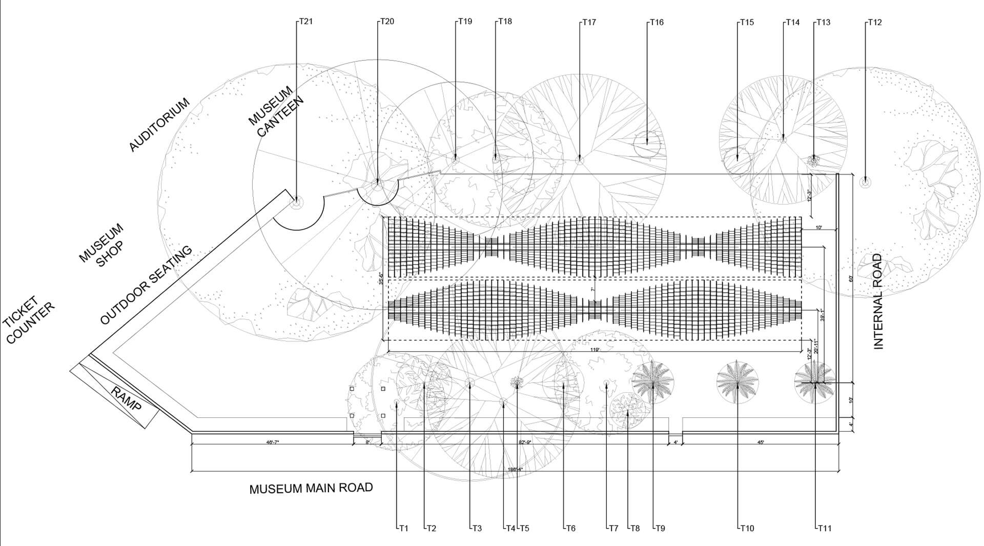 Plan of the Bookworm pavilion showing its placement in the landscape of the museum |Bookworm Pavilion| Nudes| Nuru Karim | STIRworld