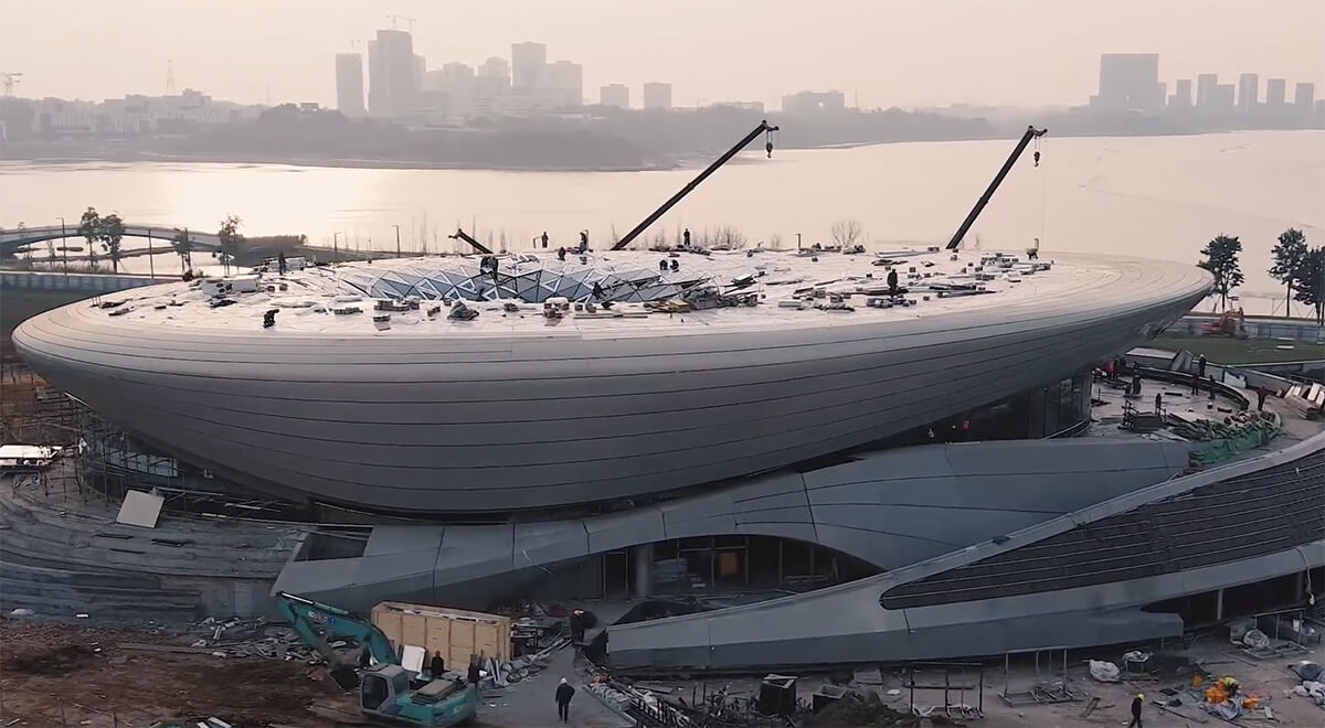 Construction video of the Start-up exhibition and conference center in Unicorn Island | Unicorn Island Masterplan| Zaha Hadid Architects | STIRworld