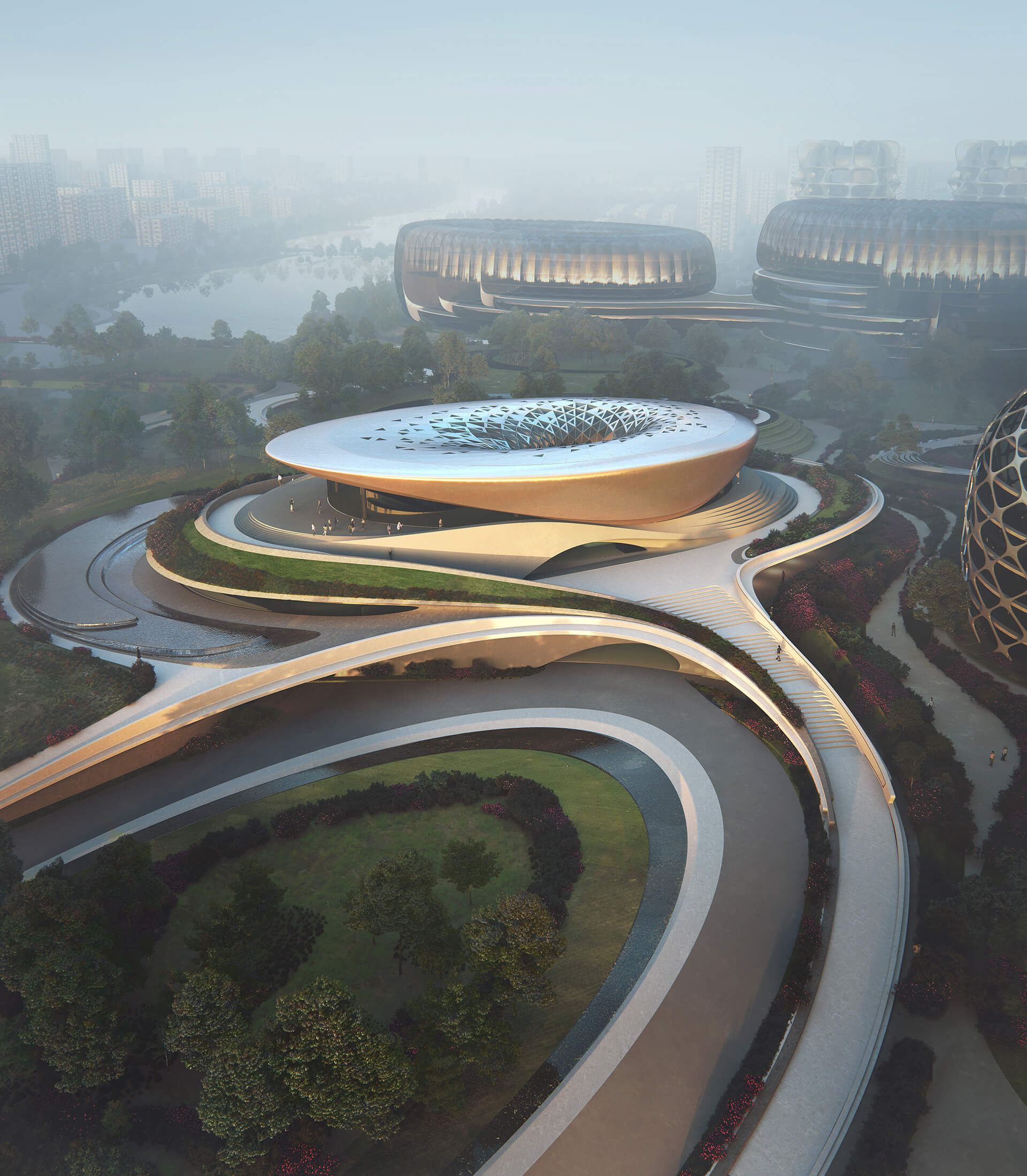 The undulating, circular form of the Start-Up exhibition and conference centre | Unicorn Island Masterplan| Zaha Hadid Architects | STIRworld