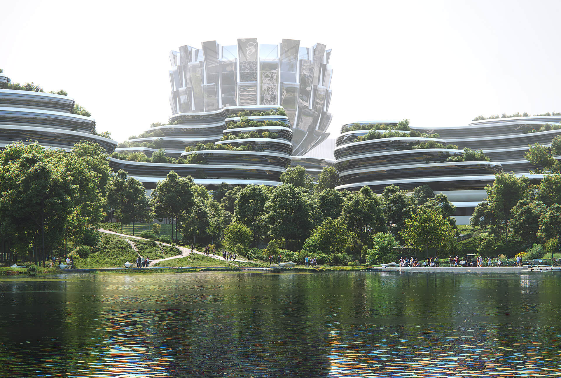 Unicorn Island's Future Fortress surrounded by greens | Unicorn Island Masterplan| Zaha Hadid Architects | STIRworld
