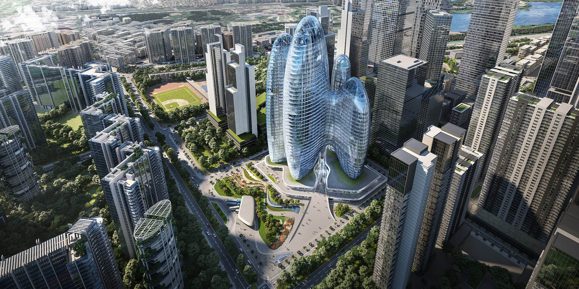 Two of the four towers house open-plan areas, while the others will function as service towers | OPPO Headquarters | Zaha Hadid Architects | STIRworld