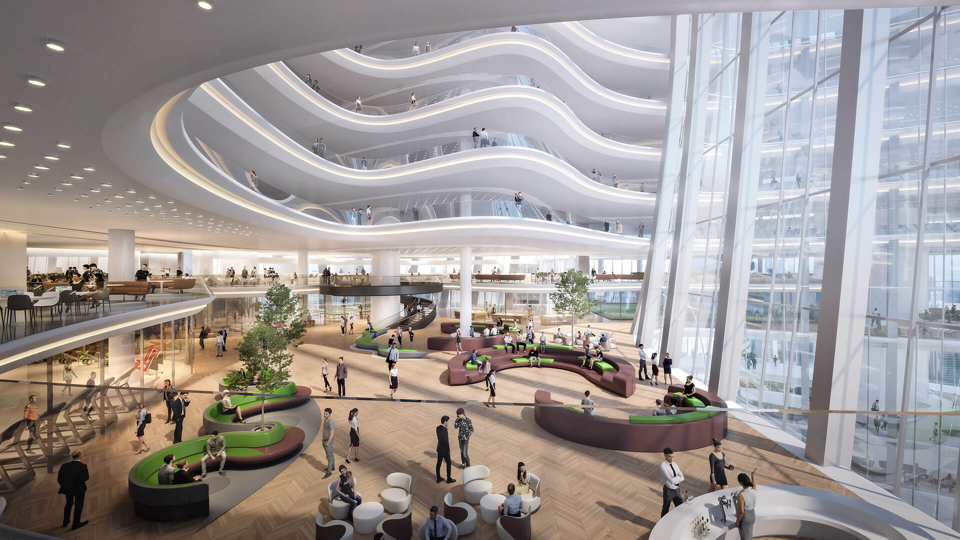 Visual connectivity is enhanced throughout the building through vast atrium spaces | OPPO Headquarters | Zaha Hadid Architects | STIRworld