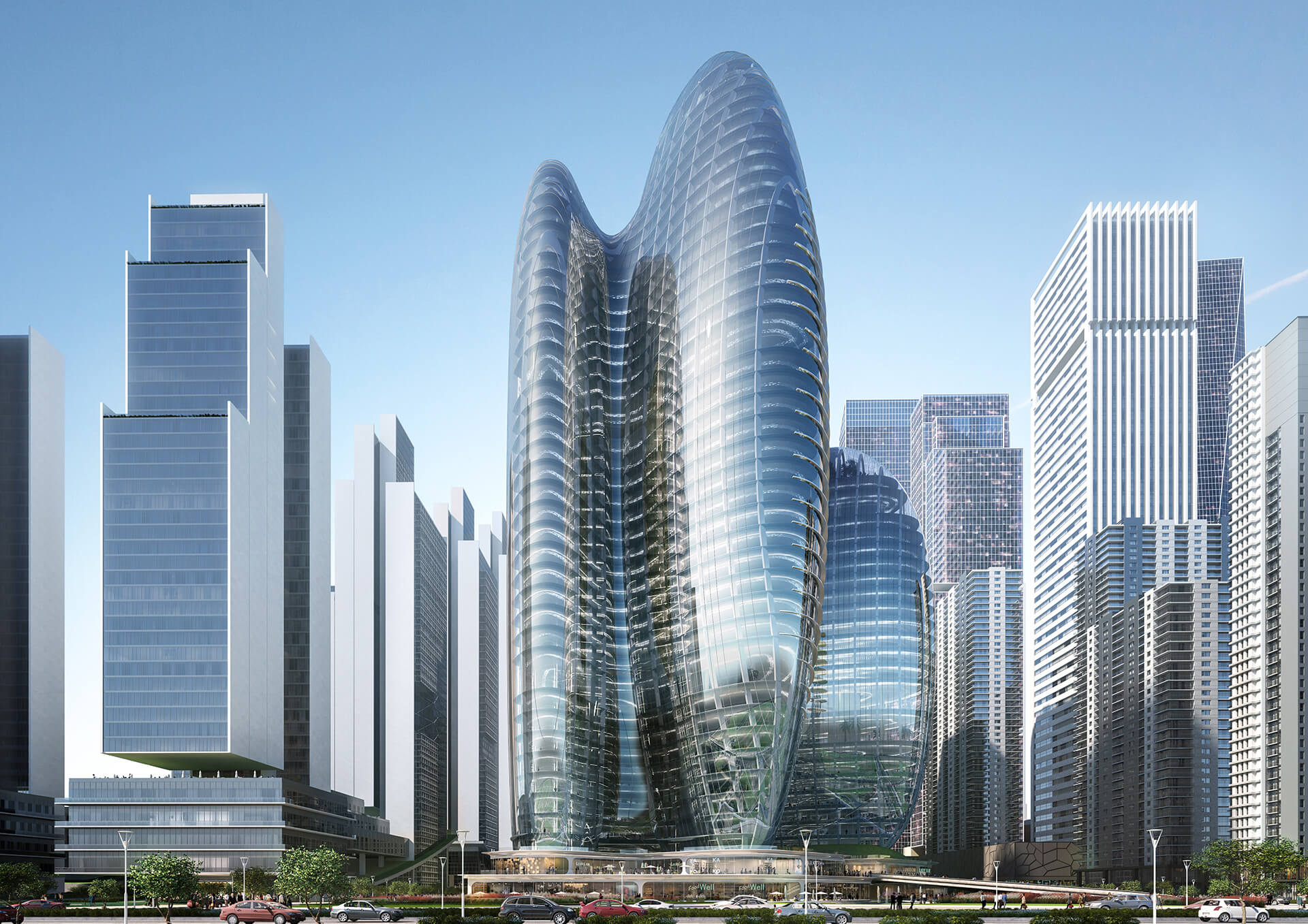 The winning design proposal imagines four interconnected towers, resembling fluid glass missiles| OPPO Headquarters | Zaha Hadid Architects | STIRworld