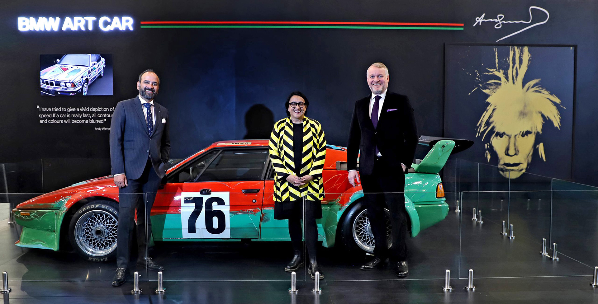 Rudratej Singh, President and CEO BMW Group India; Jagdip Jagpal, Fair Director, India Art Fair; Thomas Girst, Head of Cultural Engagement, BMW Group | Andy Warhol | India Art Fair | STIRworld