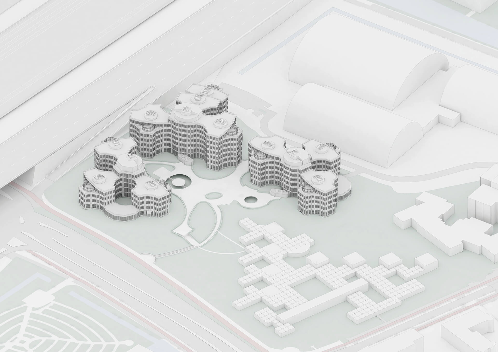 The monumental ensemble of the existing office complex | Tripolis Office Complex | MVRDV | STIRworld