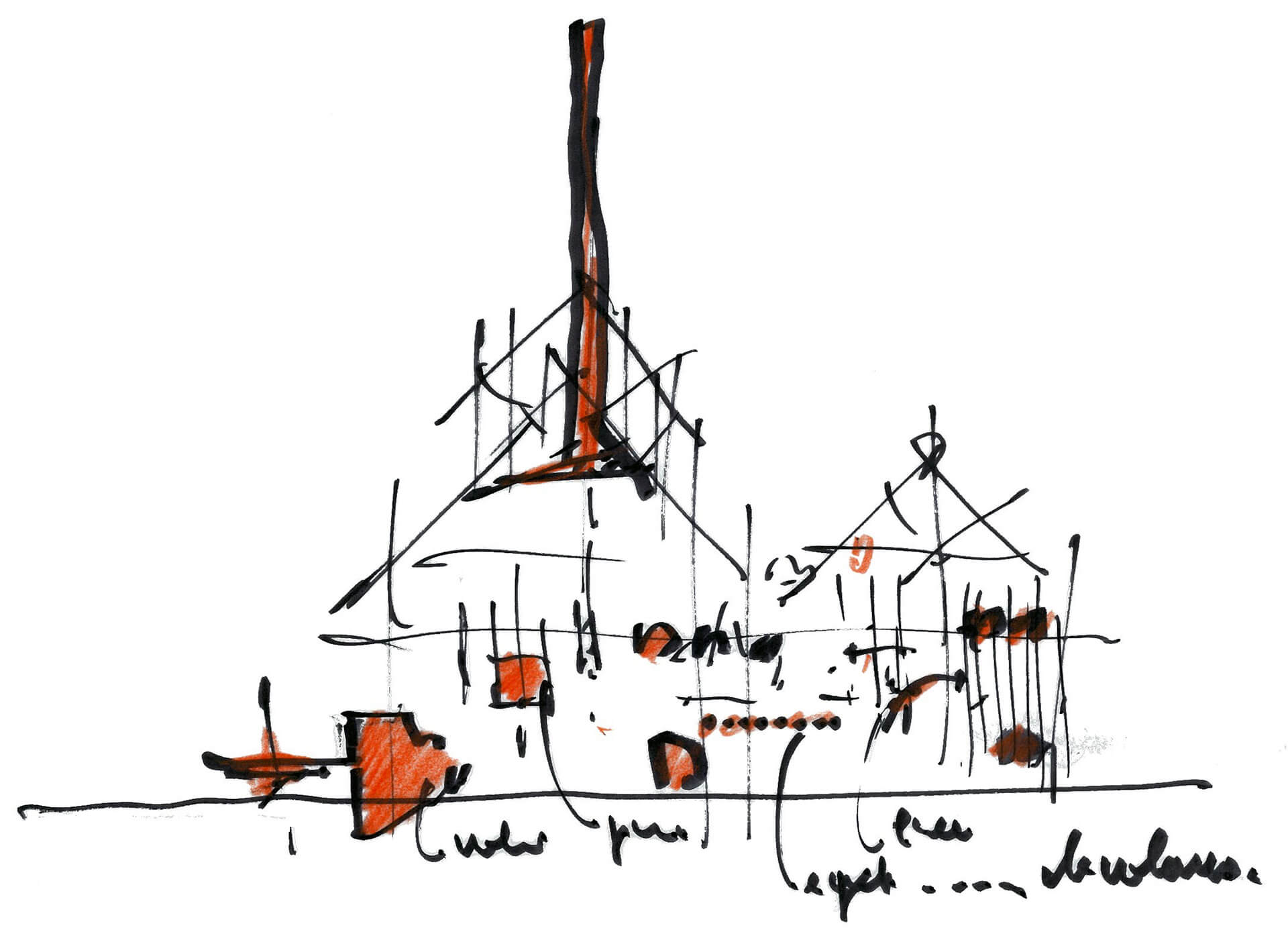 Conceptual sketch of the main building of GES-2 by Renzo Piano | GES-2 | Renzo Piano Building Workshop | STIRworld