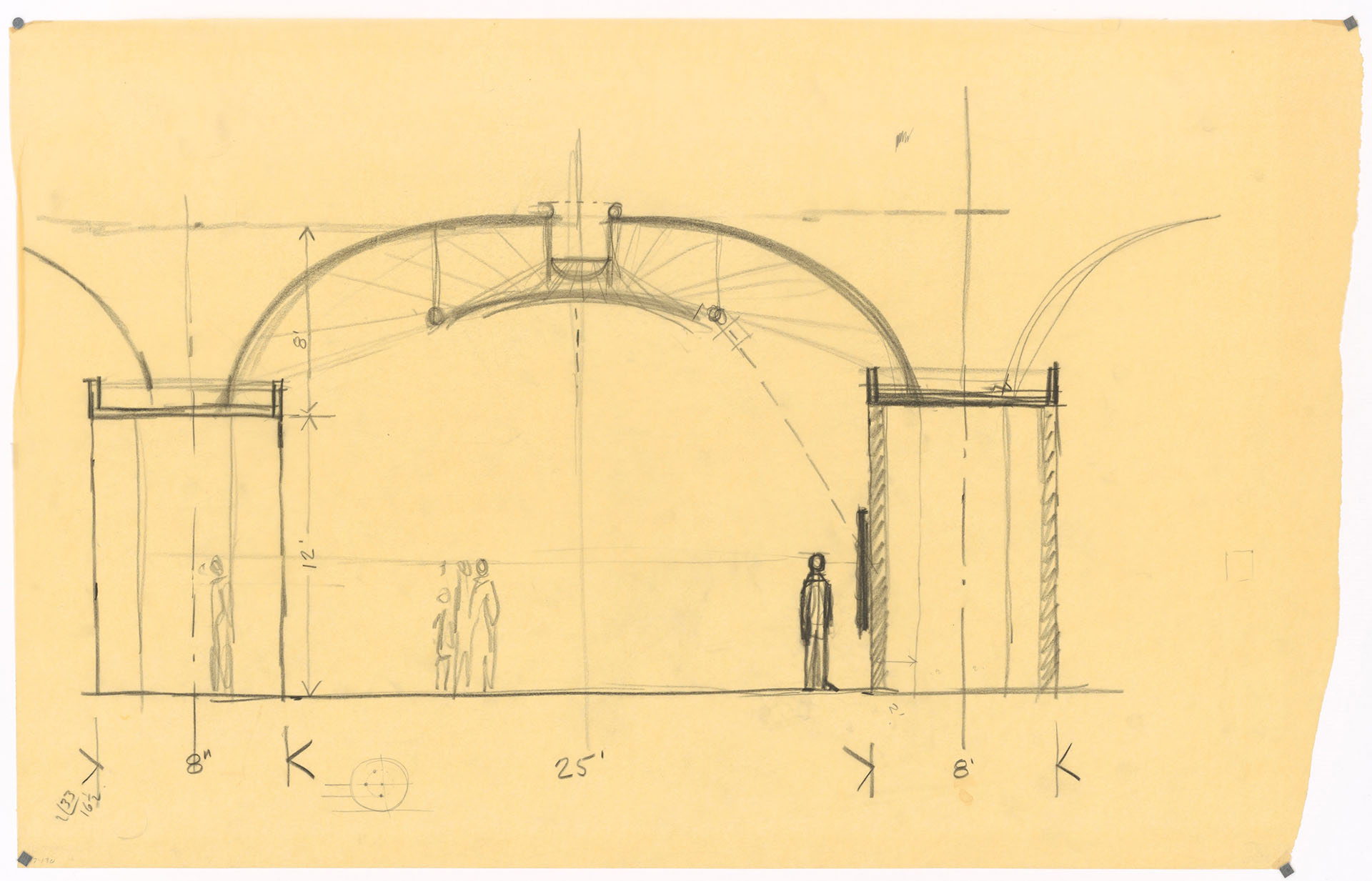 Early sectional sketch of the cycloid shells by Louis Kahn - Kimbell Art Museum (Fort Worth, Texas, USA) - architect Louis Kahn, structural consultant August Komendant | Miracles in Concrete | Louis I Kahn | STIRworld
