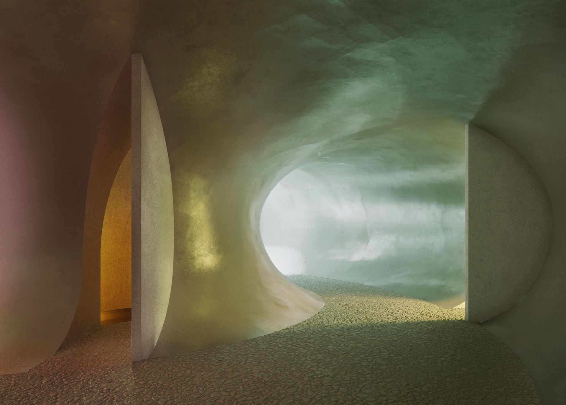 Fluid walls traverse the underground space | 515 Autobahnkirche | Herzog & de Meuron | STIRworld