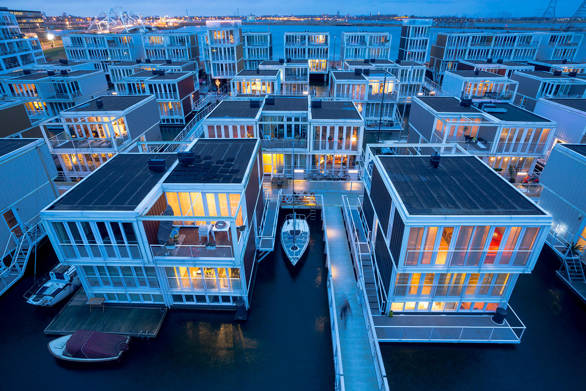 Marlies Rohmer Architect's Floating Houses IJBurg with an original scheme for 158 homes has since been expanded and will ultimately constitute 18,000 units | Sea of Change | Roca London Gallery | STIRworld