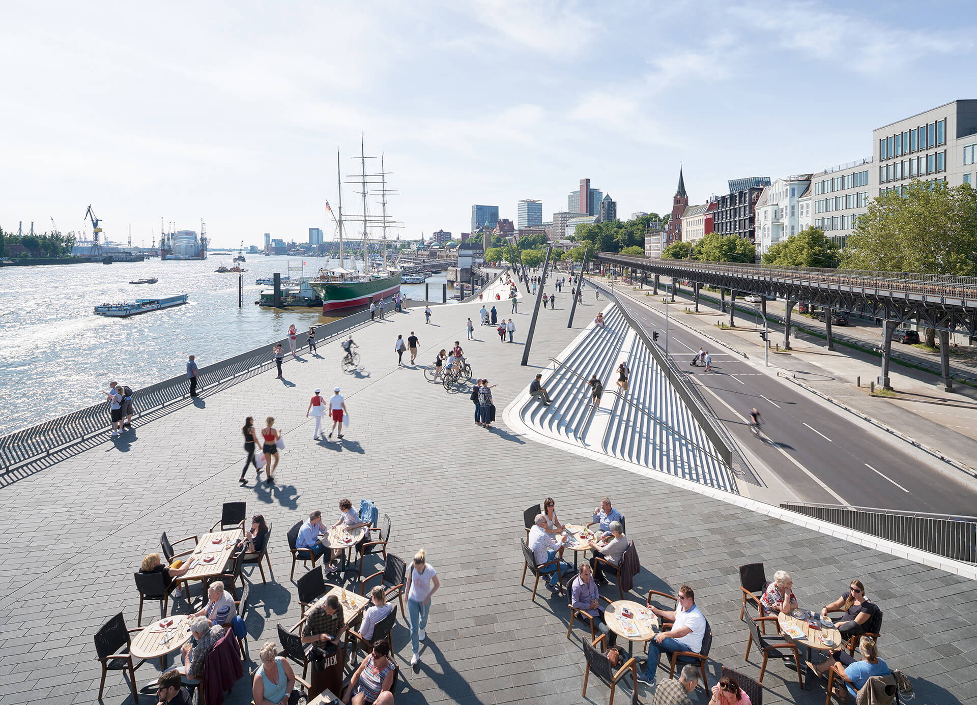 Zaha Hadid Architects' Hamburg River Promenade was completed in 2019 with the promenade stretching to 625 metres | Sea of Change | Roca London Gallery | STIRworld