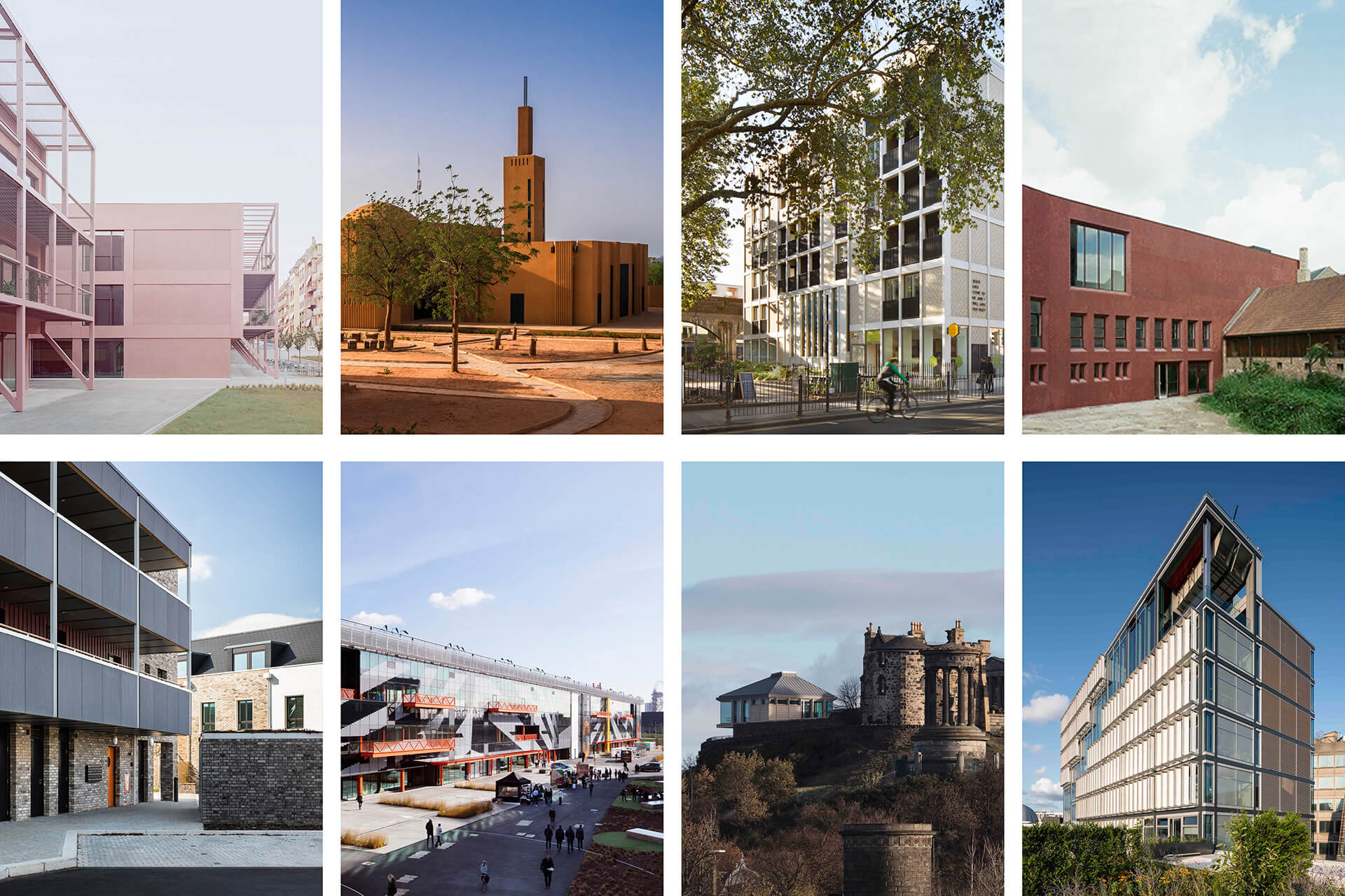 W Awards 2020: (Top row) - Shortlists for Moira Gemmill Prize: Enrico Fermi School, Dandaji Community Centre, Bethnal Green Mission Church and Z33 Museum. (Bottom row) – Shortlists for MJ Long Prize: Marmalade Lane, Here East, Calton Hill City Observatory and Centre Building at the LSE | The Architectural Review | W Awards 2020 | STIRworld