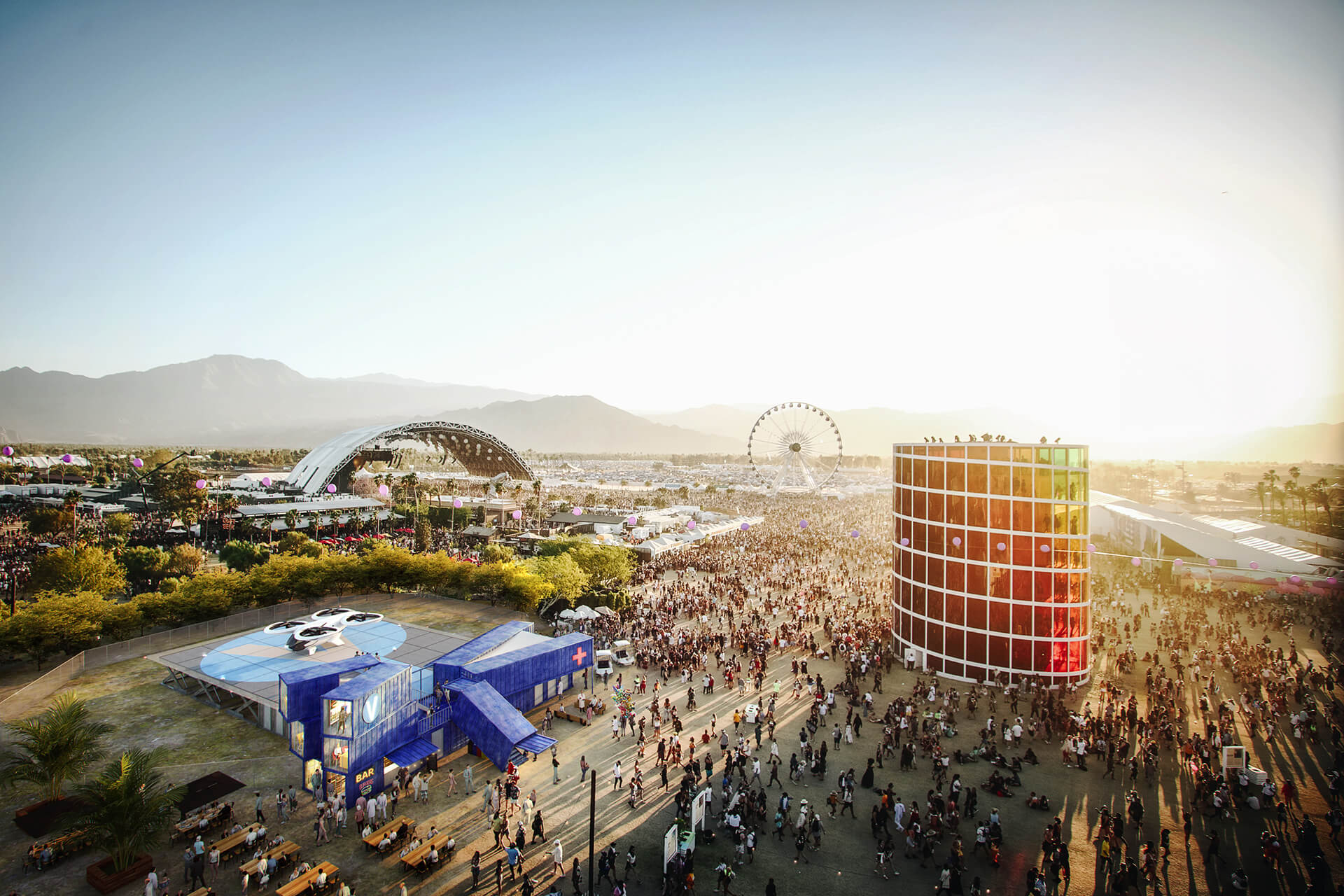 Facilitating access to temporary events, Coachella Festival | Airbus | MVRDV | STIRworld