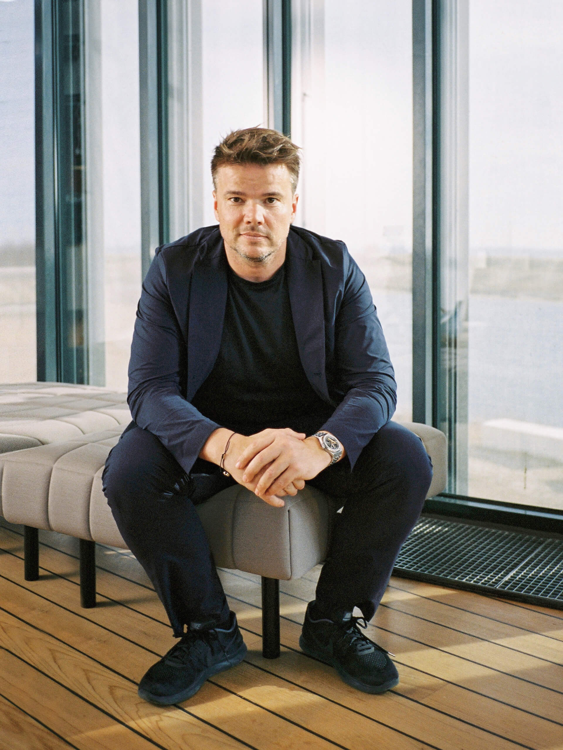 Bjarke Ingels of Bjarke Ingels Group (BIG) pictured here with the Voxel Sofa | Voxel Sofa by BIG for Common Seating | STIRworld