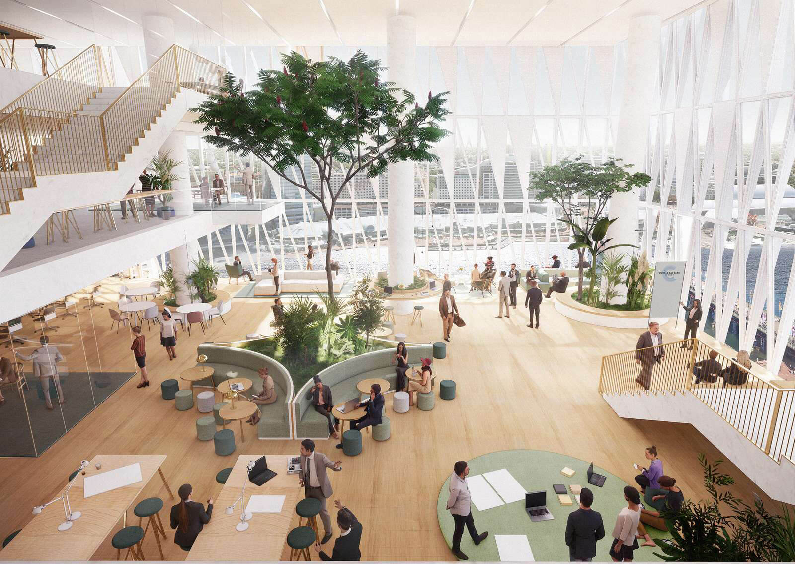 Visualised interiors of the tower's ground floor lobby | Cockle Bay Park | Henning Larsen | STIRworld
