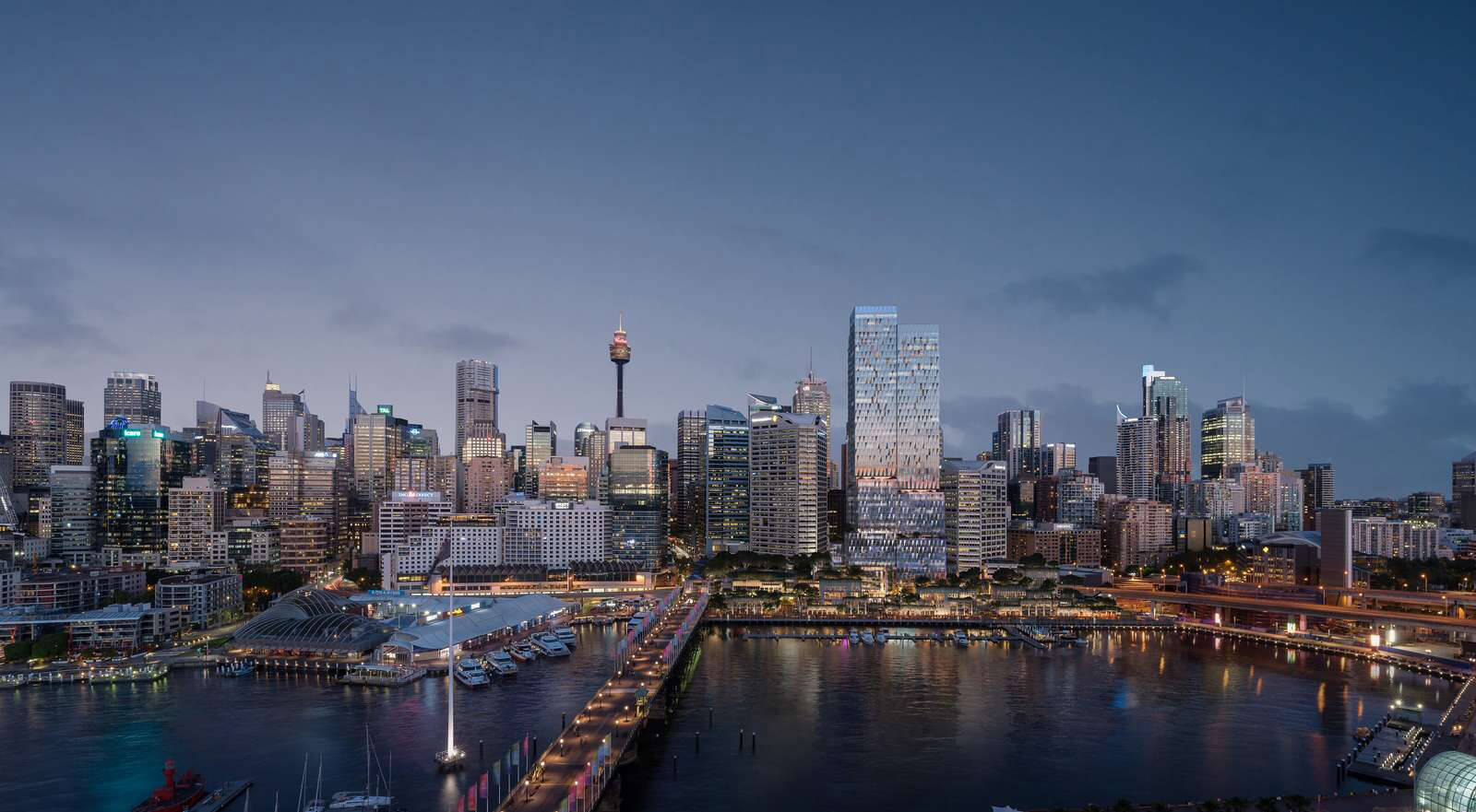 The new skyscraper of the Cockle Bay Park development merging into Sydney skyline | Cockle Bay Park | Henning Larsen | STIRworld