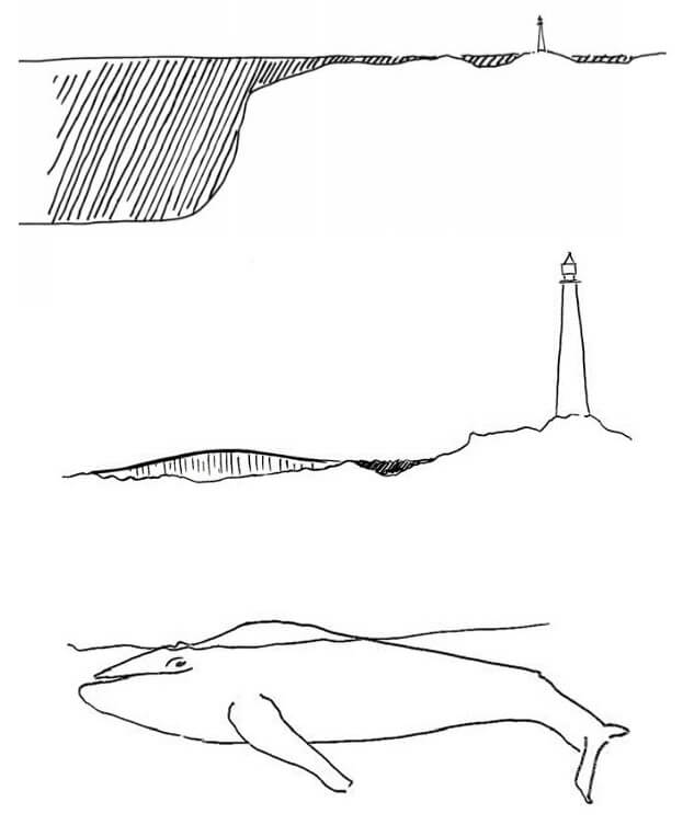 (From Top to Bottom) Conceptual sketches by Dorte Mandrup – the land and the sea, The Whale and the lighthouse, only 10% of The Whale is visible | The Whale by Denmark based Dorte Mandrup | STIRworld