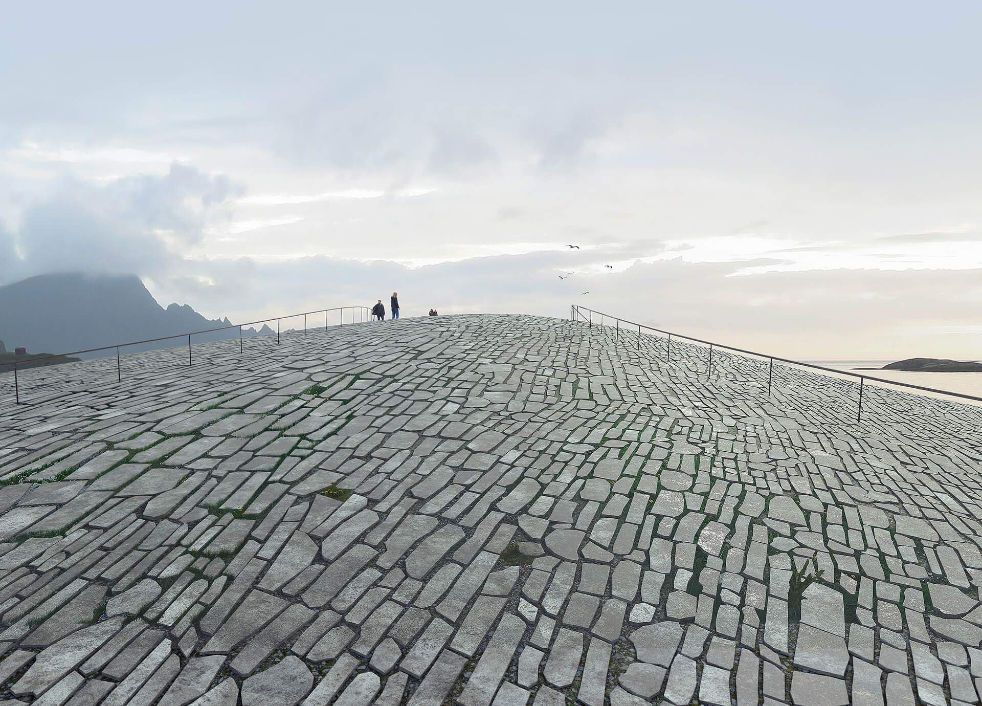 Visitors are invited to walk atop The Whale's stone covered roof, and take-in the stunning landscape | The Whale by Denmark based Dorte Mandrup | STIRworld