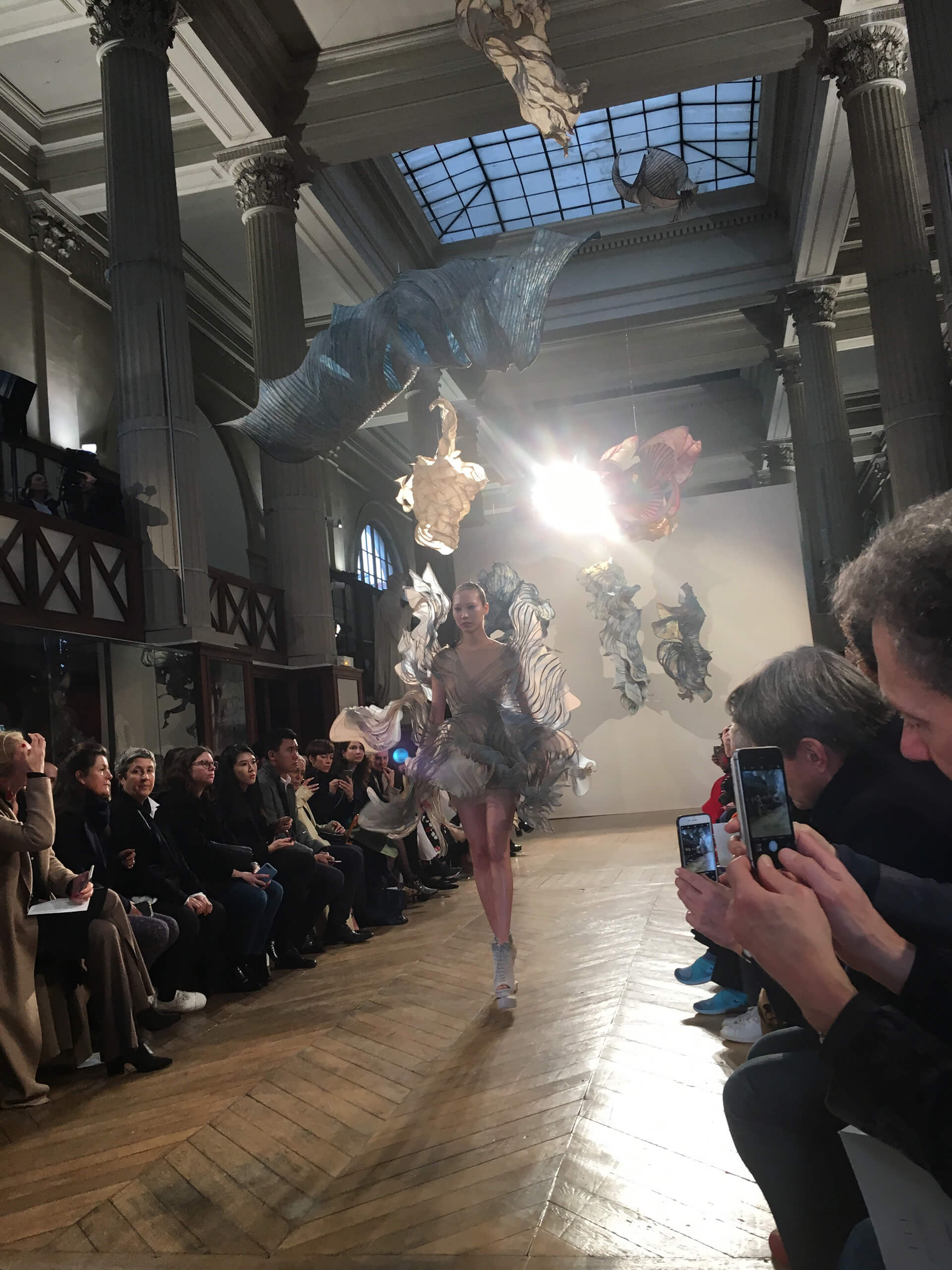 A visual of the runway exhibition underway in 2018 featuring van Herpen's designs as well as Gentenaar's installations | Iris van Herpen | Peter Gentenaar | STIRworld