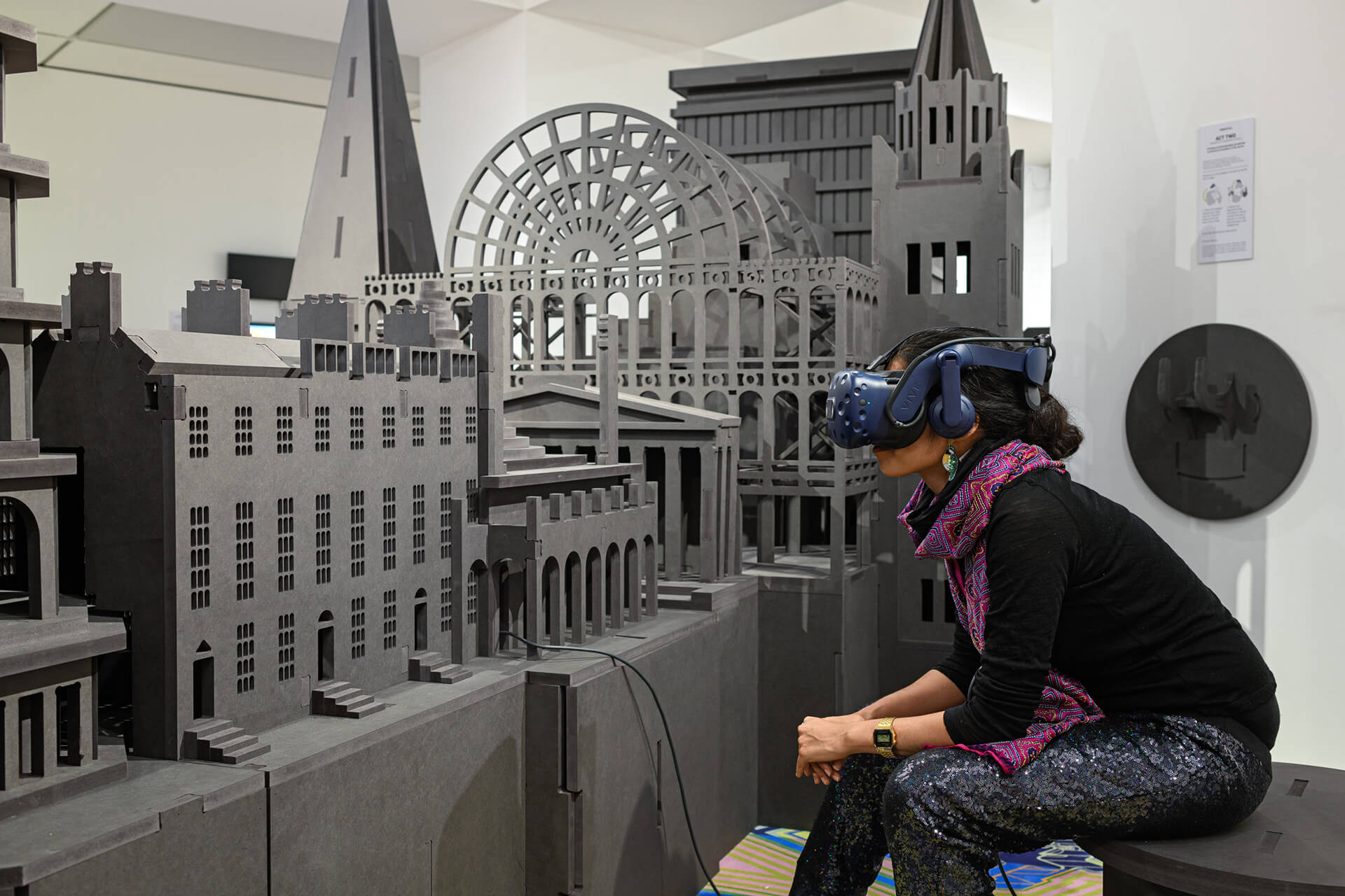 A visitor immersed in the VR experience that takes you through a journey of architectural styles | RIBA Freestyle | Space Popular | STIRworld