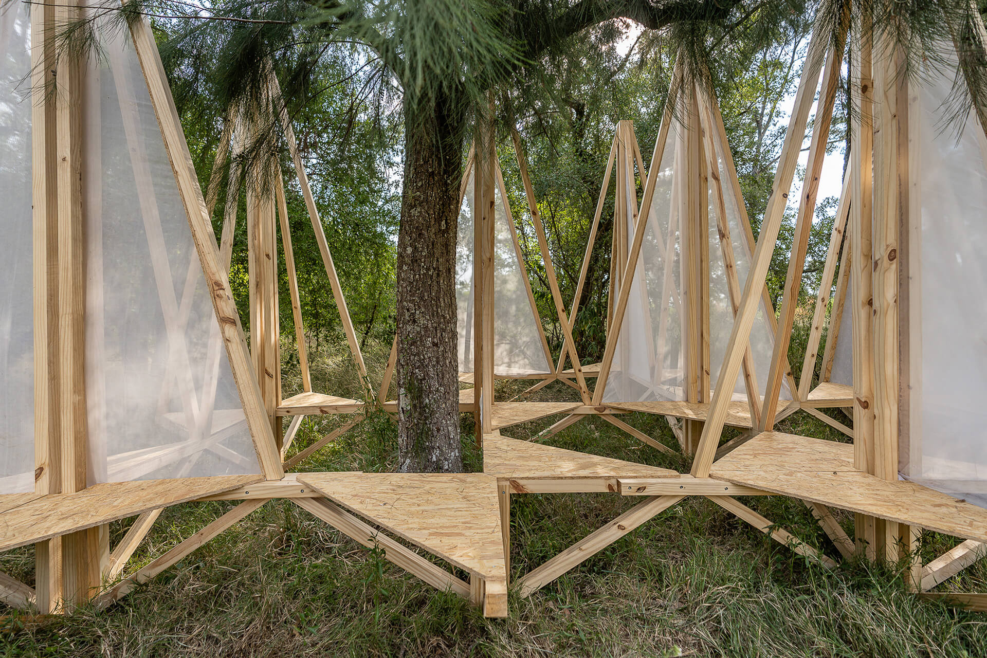 Project Ecosystem is a satellite project created on the theme of 'superpositioning' at the Hello Wood Festival 2020 in Argentina | Installations in Wood | STIRworld