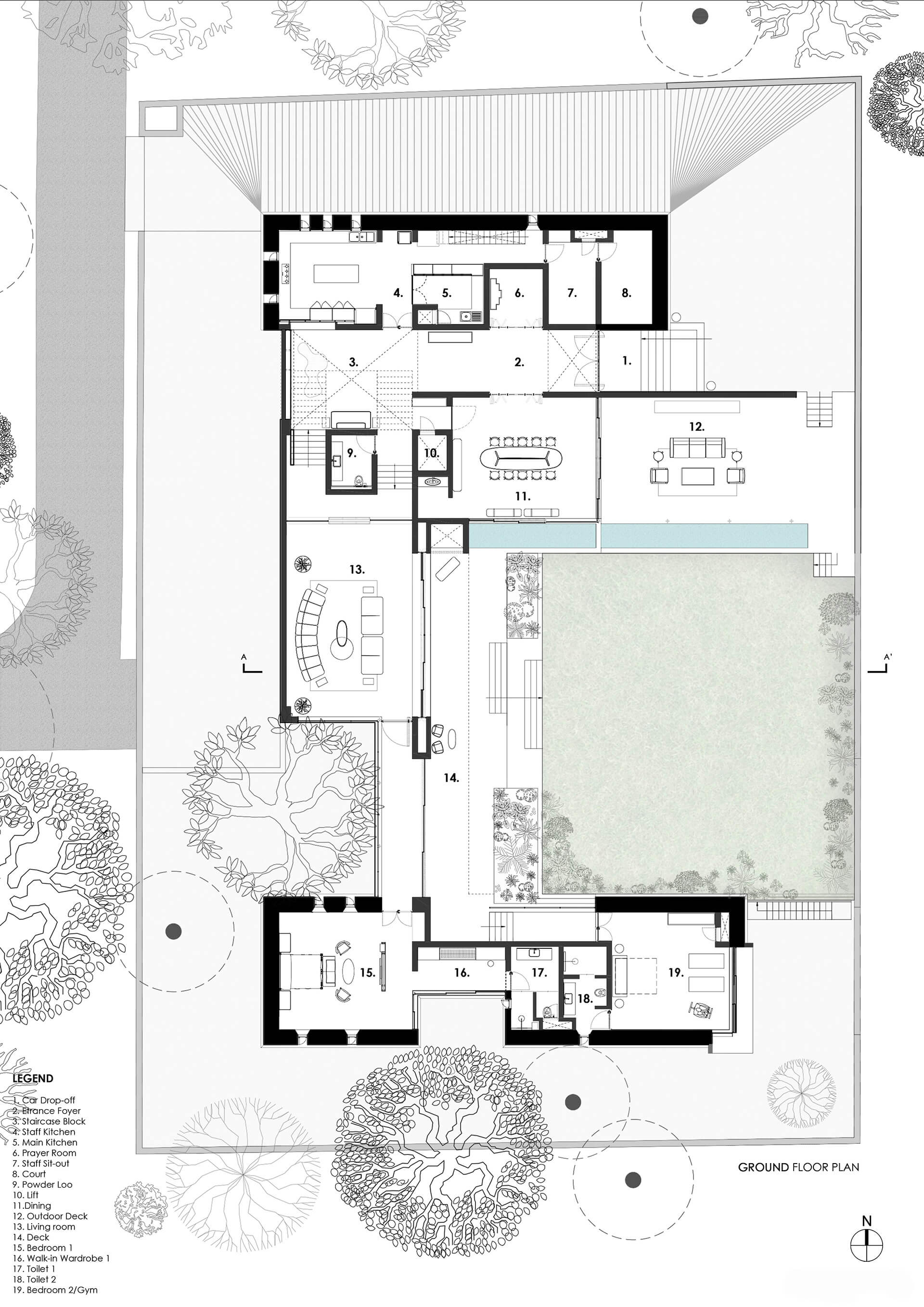 Ground floor plan of the Black Bastion house designed by SPASM Design in Coimbatore, Tamil Nadu, India | Spasm Design | STIRworld