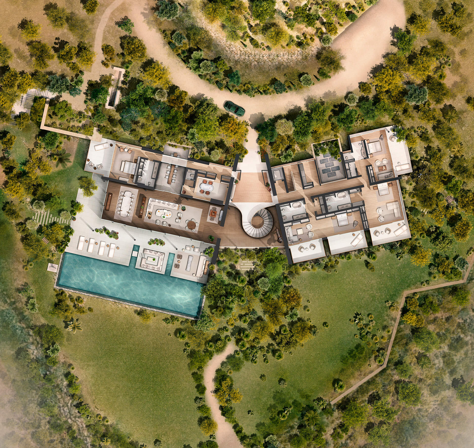 Plan of Dolunay Villa by Foster+ Partners | Dolunay Villa in Mulga | Foster and Partners | STIRworld