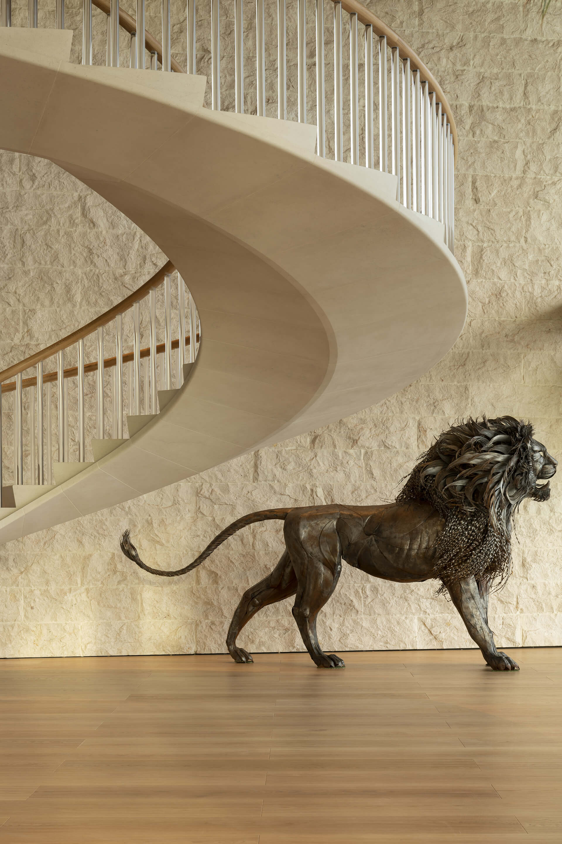 The uniquely designed central staircase | Dolunay Villa in Mulga | Foster and Partners | STIRworld