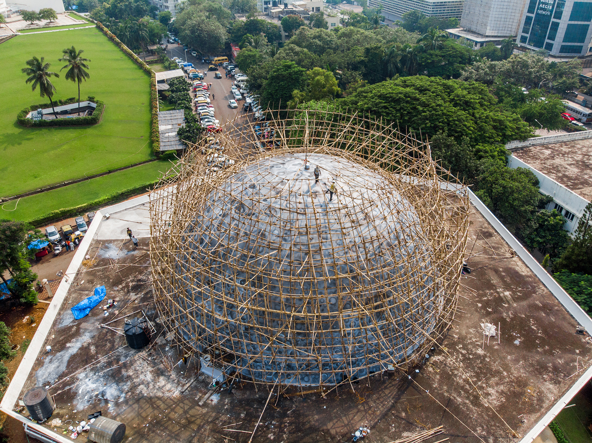 Over 2500 bamboos were installed as scaffolding to work on the dome | Lunar Dome | Asian Paints | Sideways| St+Art| STIRworld