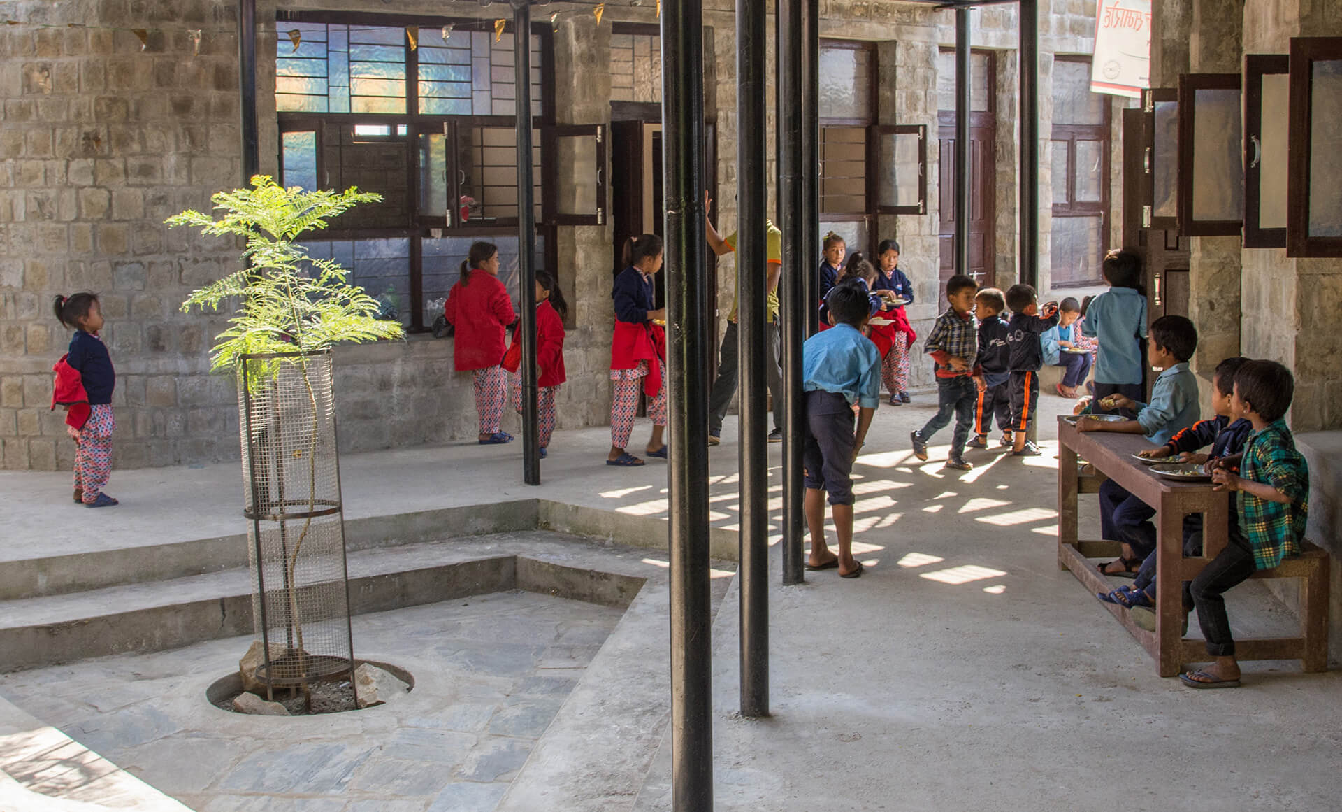 Courtyard of the Shree Janasewa School by Sustainable Mountain Architecture led by Prof. Anne Feenstra | Anne Feenstra | Design after COVID-19 | STIRworld