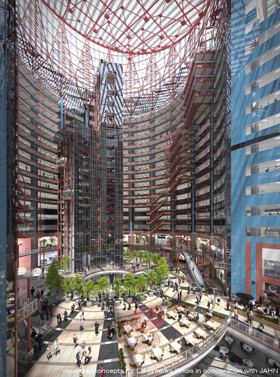 Proposed plan, which opens up the central atrium to the public with retail spaces and restaurants | James R. Thompson Center by Helmut Jahn | STIRworld