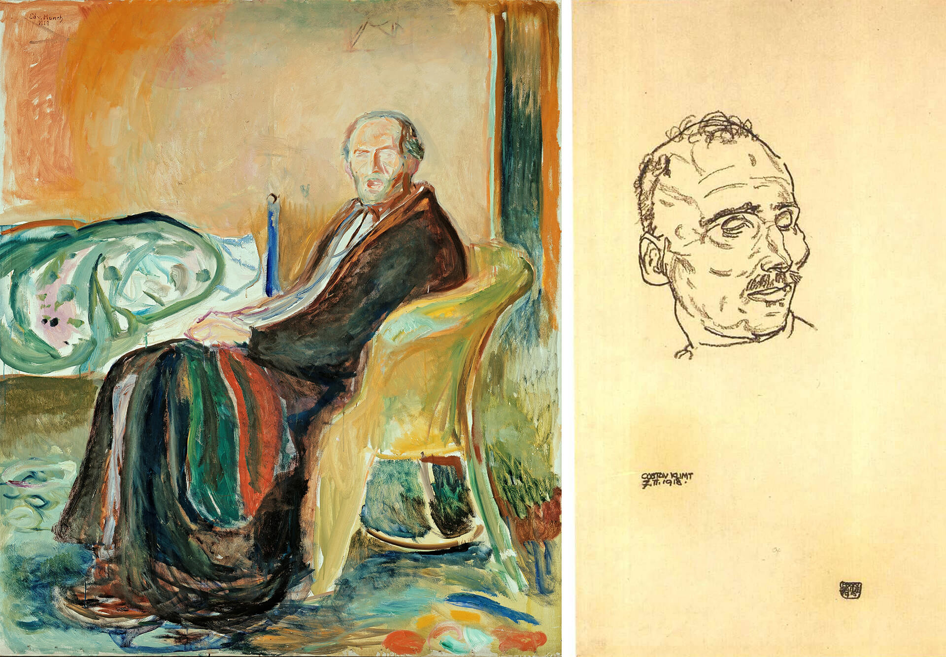 Gustav Klimt on his Deathbed by Egon Schiele | Self Portrait with the Spanish Flu by Edvard Munch | Future of arts | STIRworld
