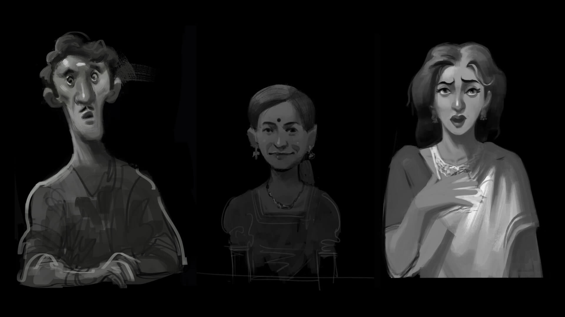Character mockups for Death of a Detective, an adventure game set in 1940s British India | Death of a Detective by The Roots Collective | STIRworld