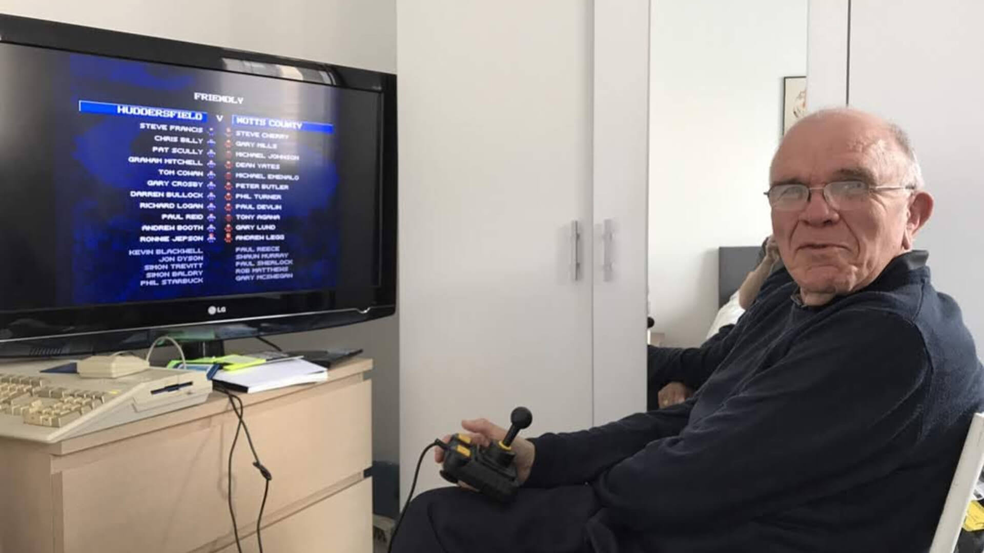 A picture of Carter's father during their recent revisit to the Commodore Amiga 500+ | Gamescapes | STIRworld