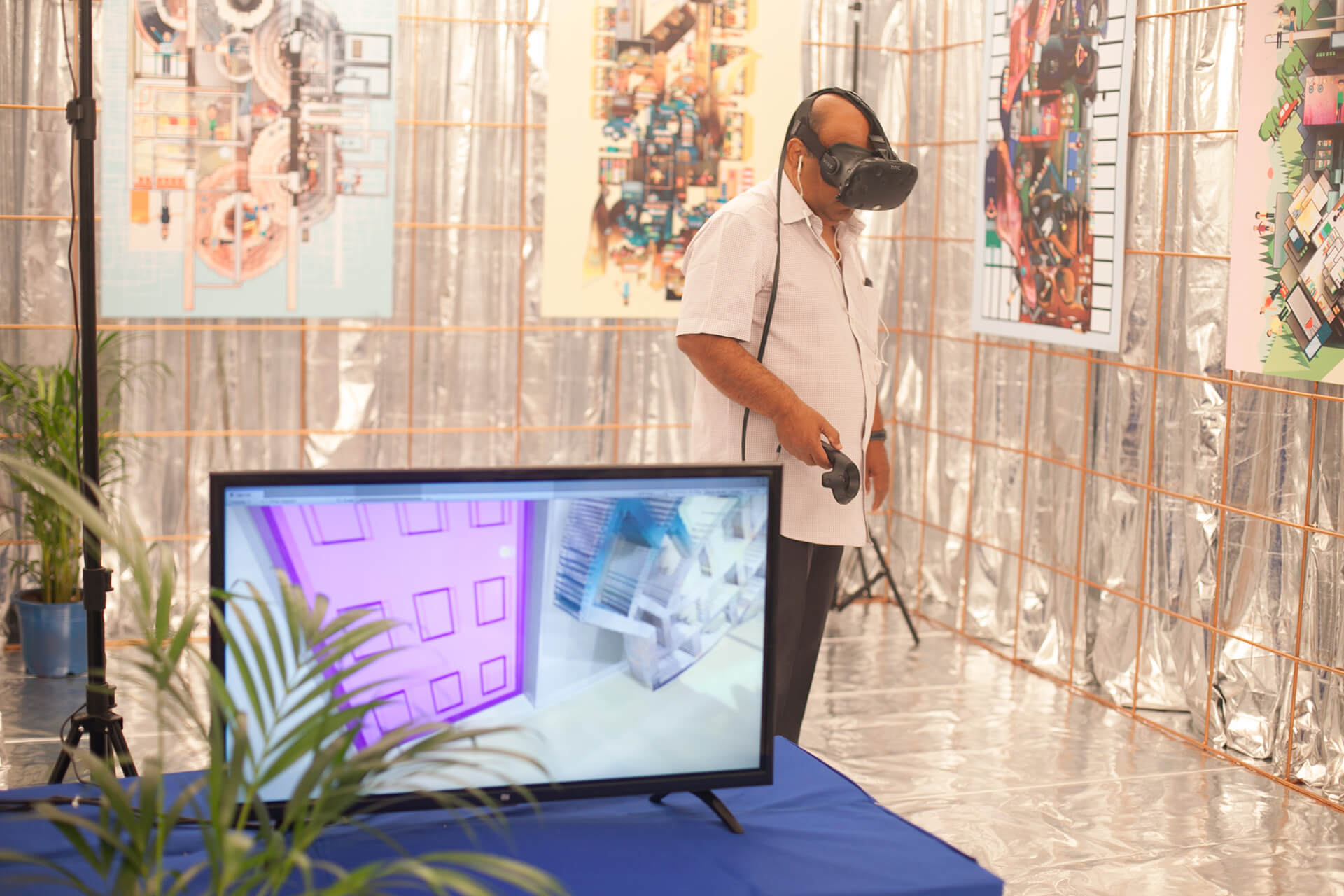 A visitor experiencing virtual reality at TIFA Working Studios | Paw_cosm | Anokhi Shah | Gamescapes | STIRworld