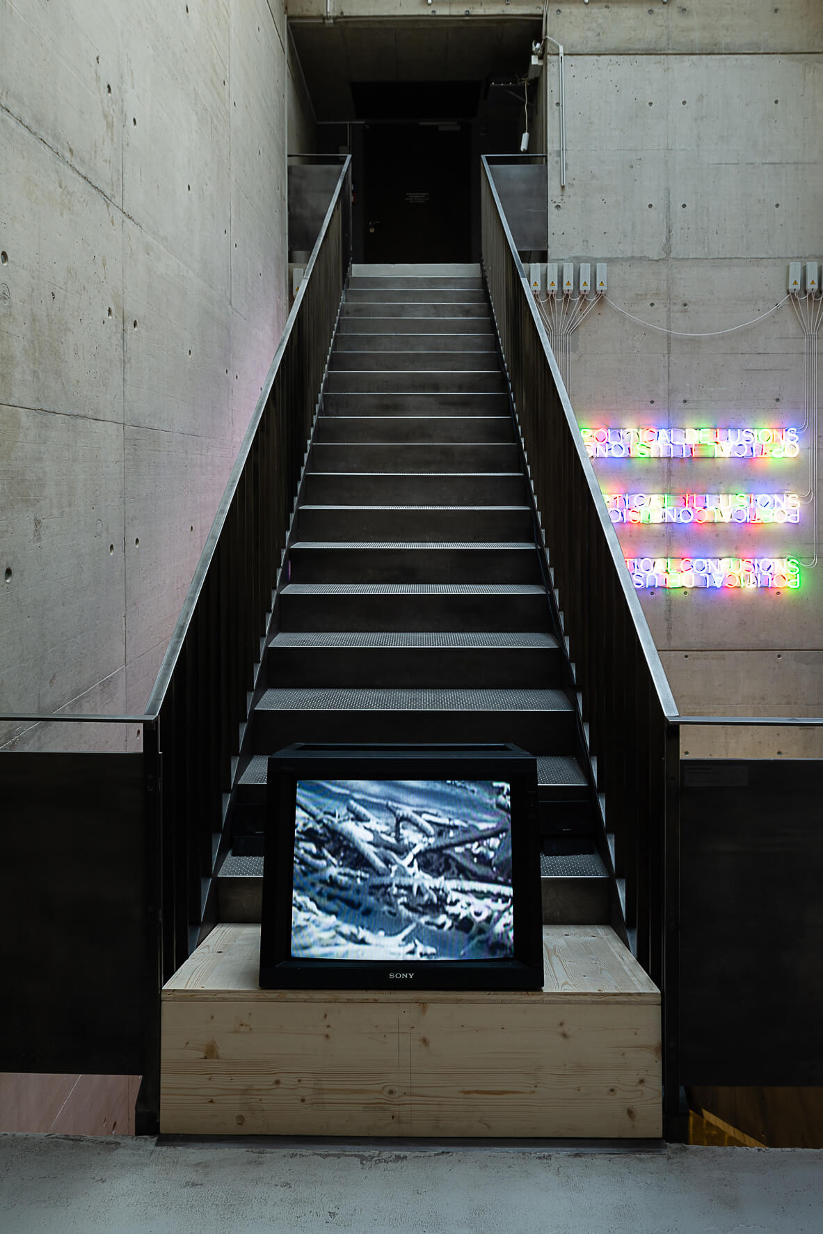Mladen Stilinović's 2001 film Potatoes, Potatoes, was installed alongside one of Tim Etchells' Mirror Pieces at the top-most floor of the Kunsthalle Wien | Jorit Aust | STIRworld