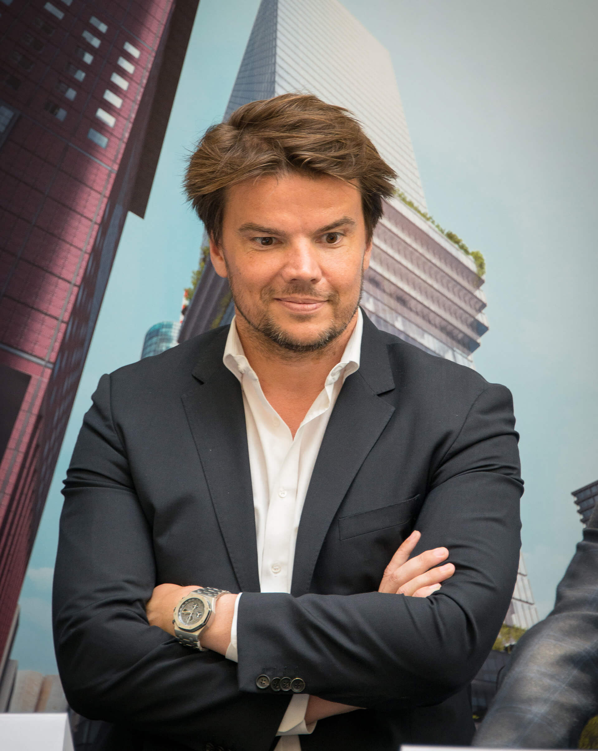 Bjarke Ingels in front of his design of a mixed-use tower in Frankfurt am Main (June 2015) | STIR Birthday Tribute | STIRworld