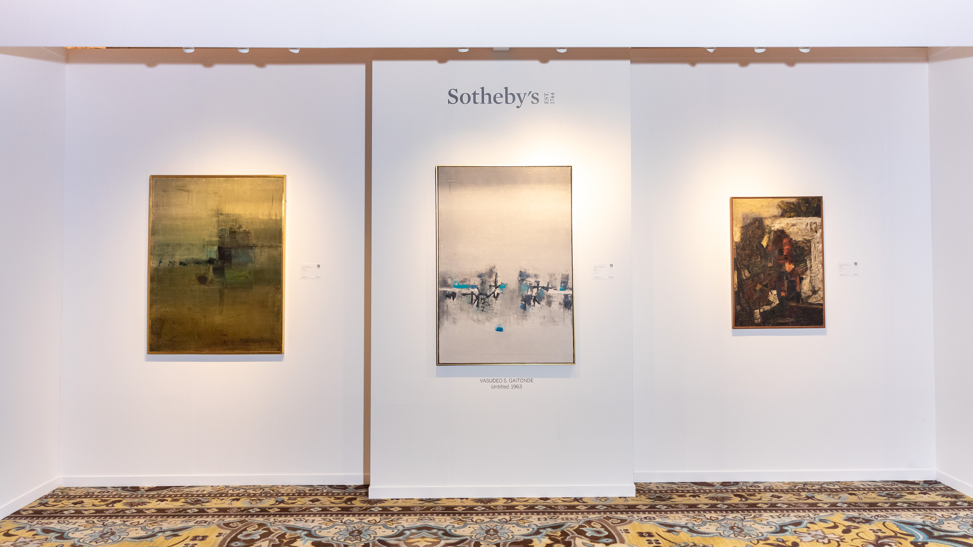 Left to Right: Nasreen Mohamedi's 'Untitled', VS Gaitonde's 'Untitled', MF Hussain's 'Mehndi' | Sotheby's | Nasreen Mohamedi, VS Gaitonde, MF Hussain | STIRworld