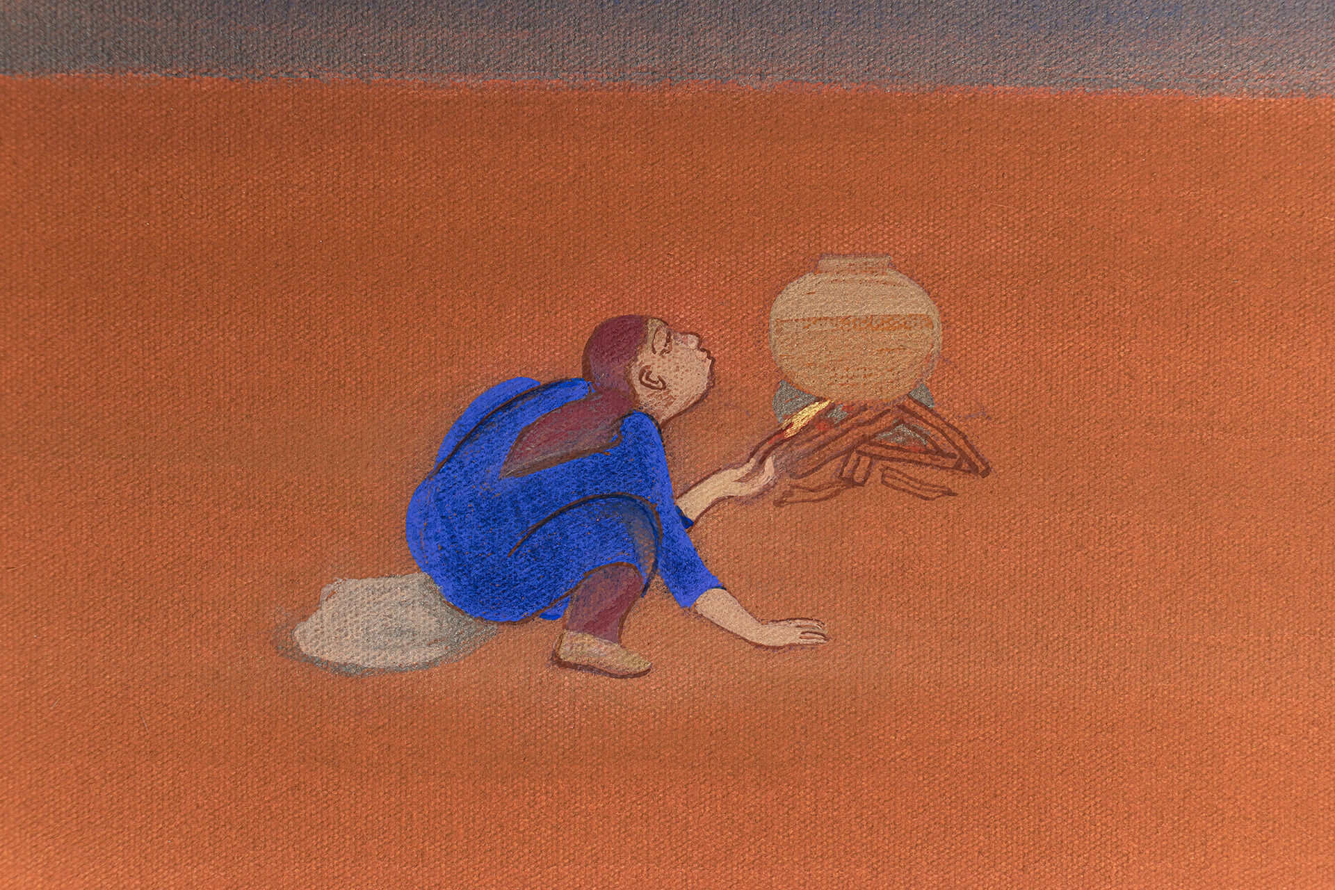 The solitary figure preparing a meal serves as a reminder of the transformative resilience of women in the face of trauma | Chemould Prescott Road| STIRworld