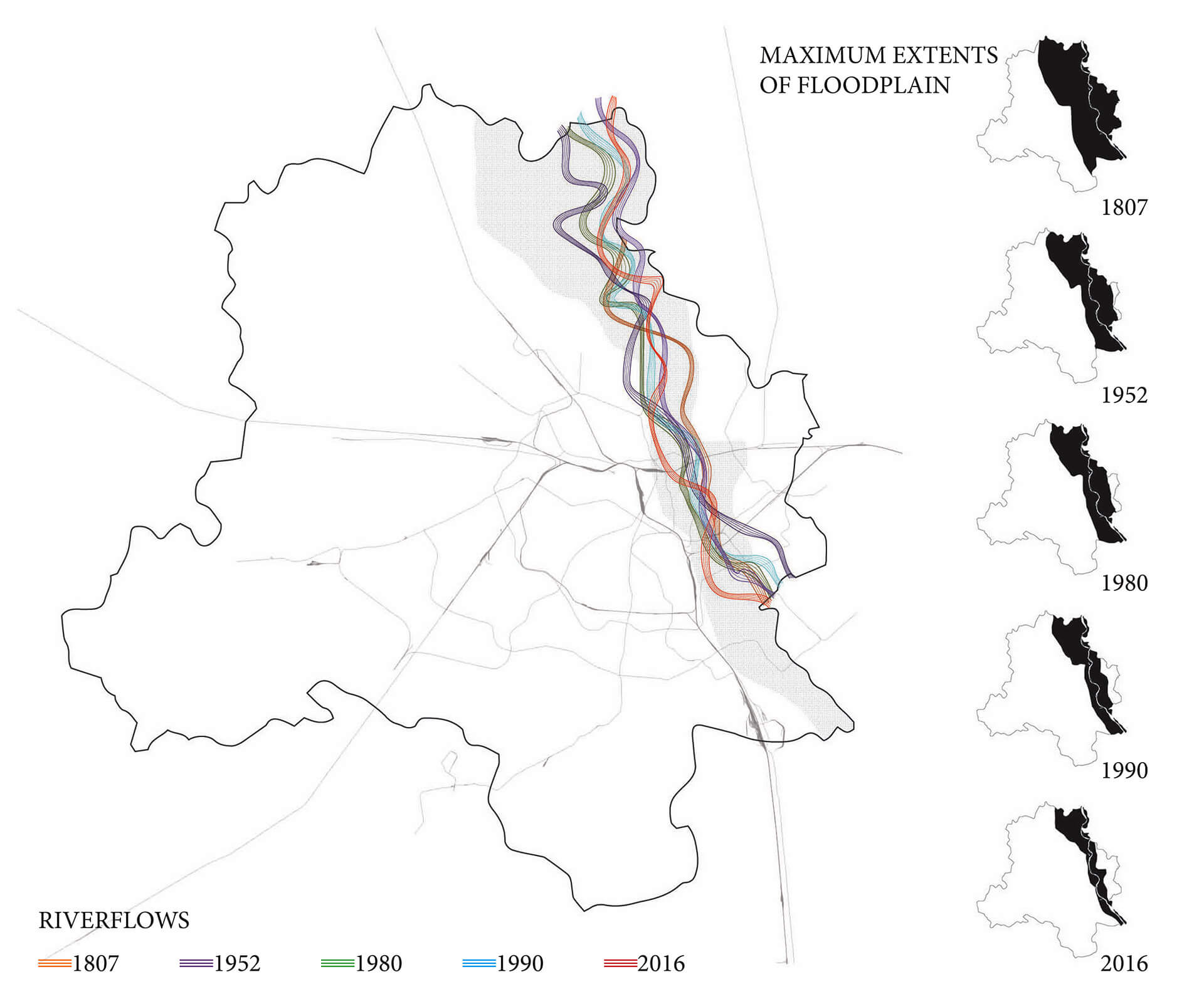 The floodplains continue to shift along with the river due to geological and human interventions. Mapped above is the migration from 1807-2016 | Who does the land belong to? The land in the heart of Delhi | STIRworld