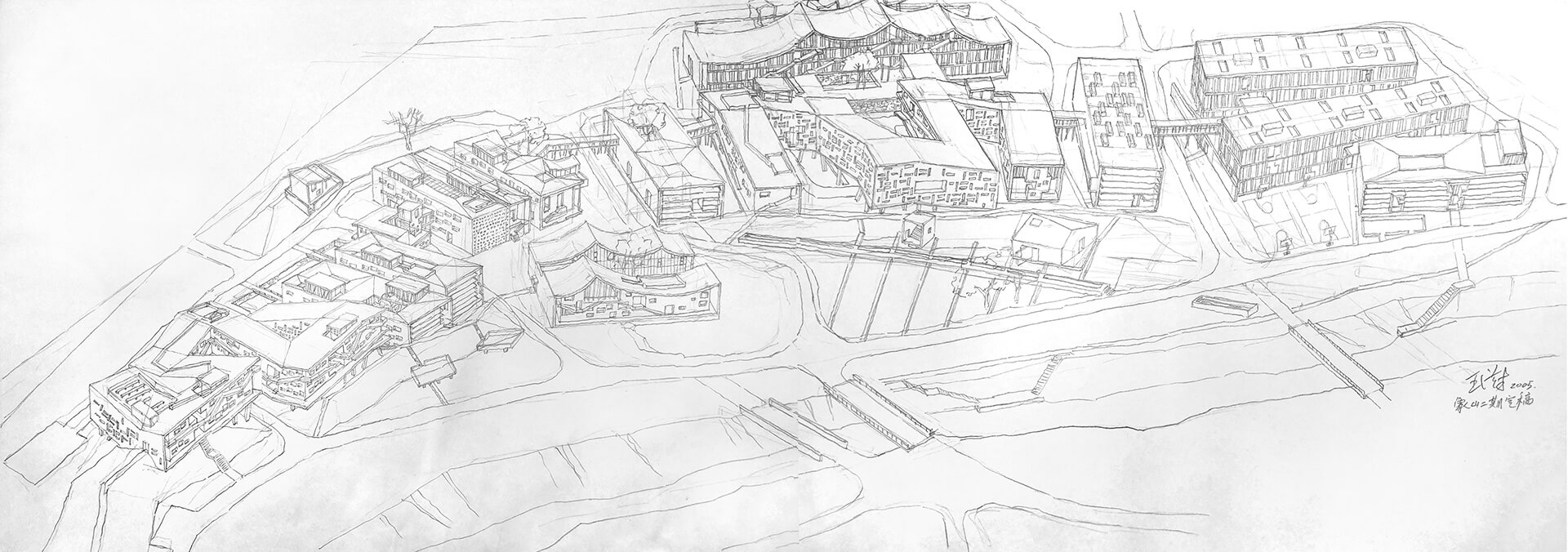 Xiangshan Campus, China Academy of Art, Hangzhou, Phase II, 2004 - Sketch drawn by Wang Shu from left to right without a stop over a period of four hours | Vladimir Belogolovsky in conversation with architect WANG Shu | STIRworld