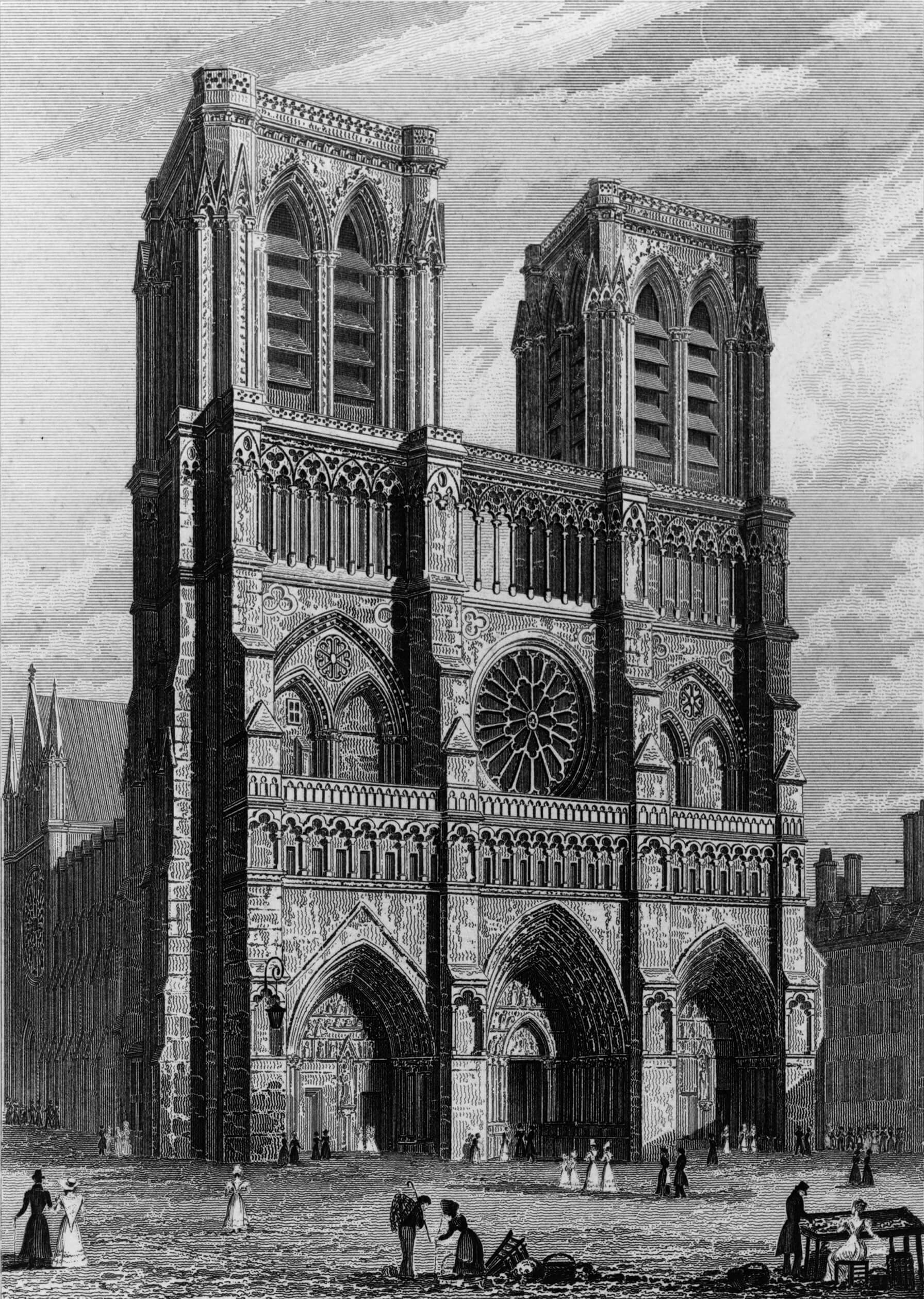 West front of the Church of Notre Dame, drawn by A. Pugin | France | Paris | STIR