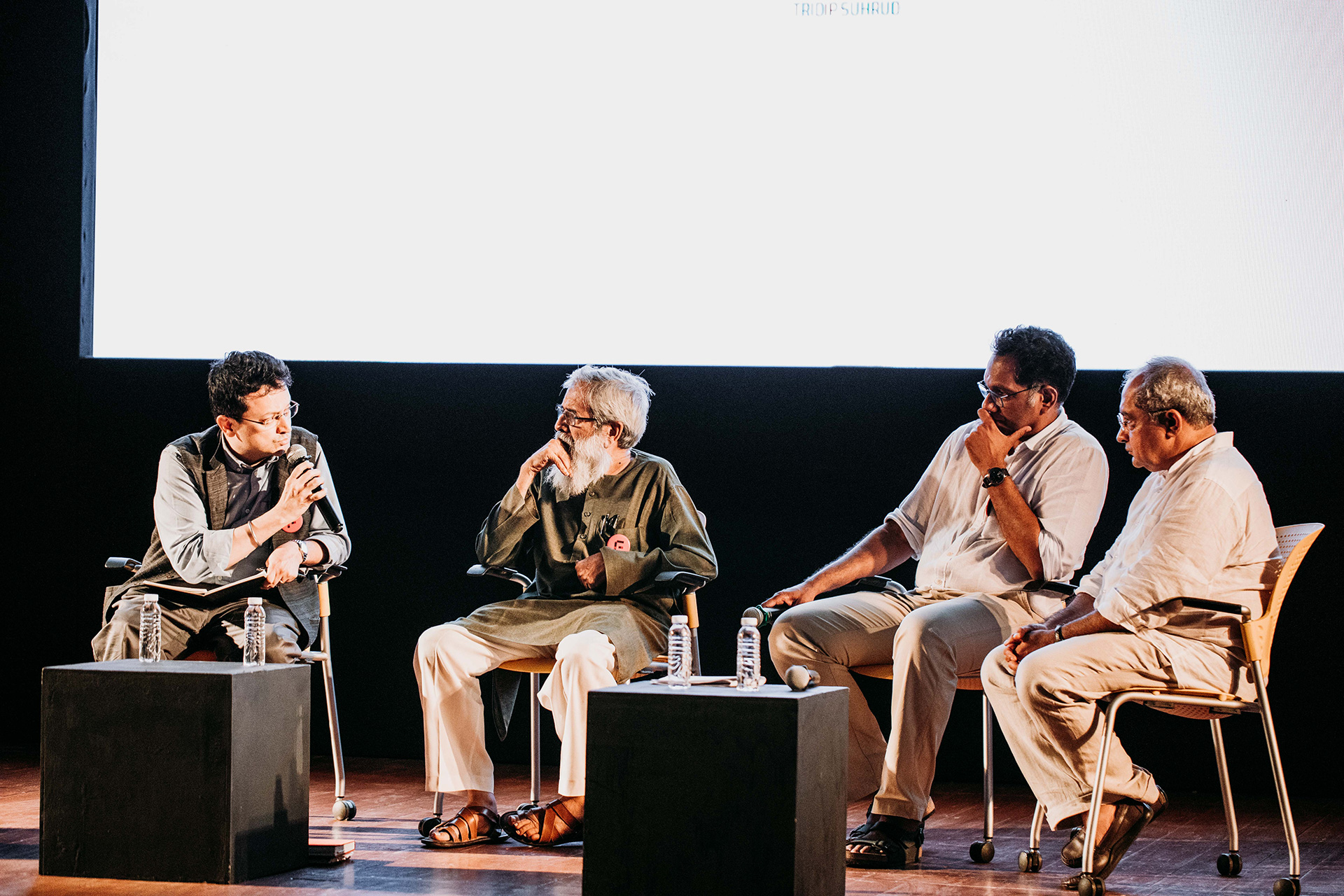 Panel Discussion (from L to R)  Ranjit Hoskote, Neelkanth Chhaya, Riyaz Tayyibji and Tridip Suhrud | Frame Conference | India | STIR