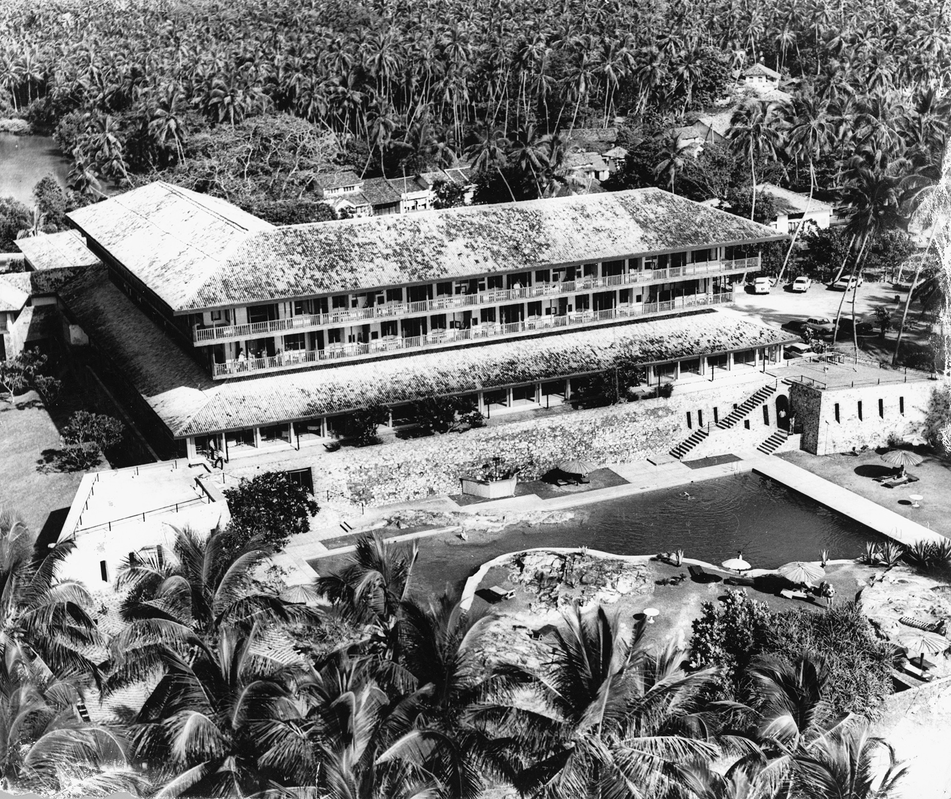 Bentota Beach Hotel (1968), aerial view from the west | Geoffrey Bawa | David Robson | STIR