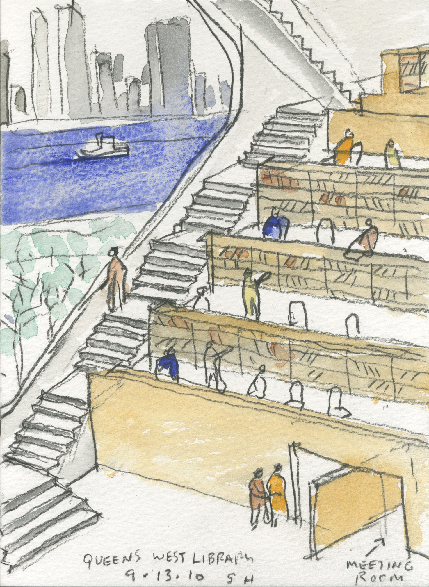 Sketch for Book Stacks for The Hunters Point Library | Steven Holl | Interview | Queens Library | Vladimir Belogolovsky | STIR