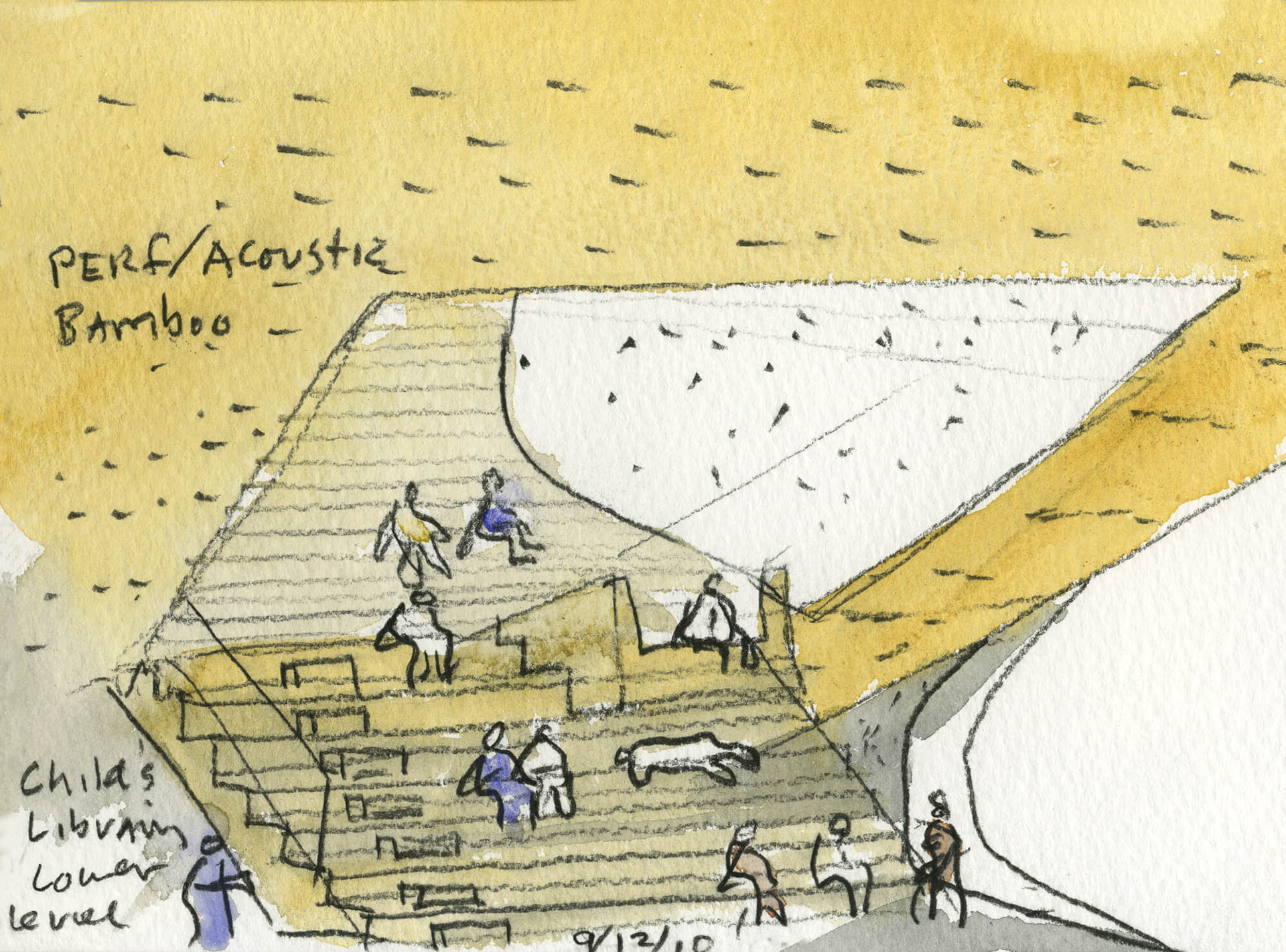 Sketch of The Hunters Point Library, Queens, New York | Steven Holl | Interview | Queens Library | Vladimir Belogolovsky | STIR