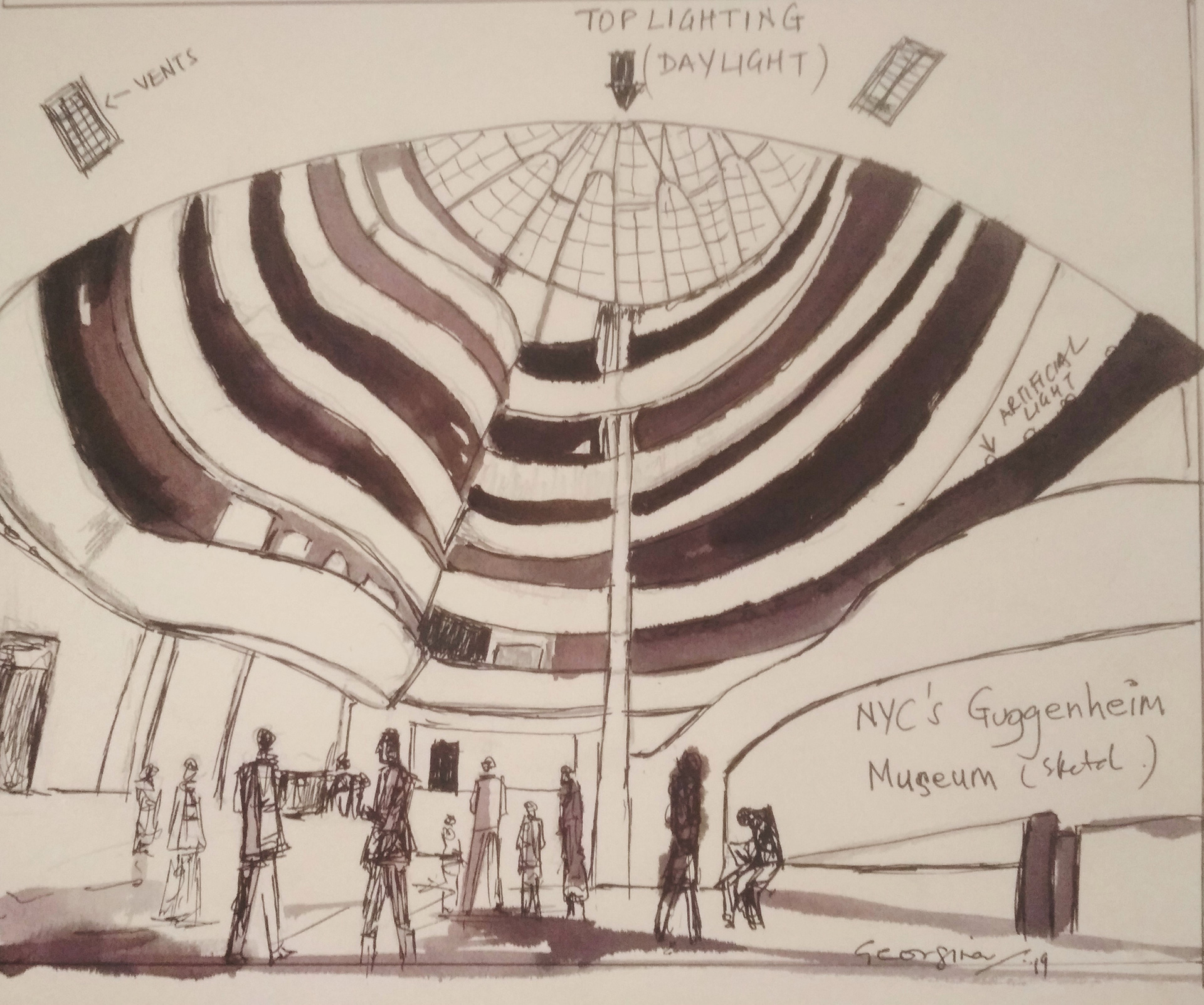 A sketch of the Guggenheim Museum to observe the effective use of day lighting from the top/skylight | Daylight in galleries and museums | Guggenheim Museum | STIRworld